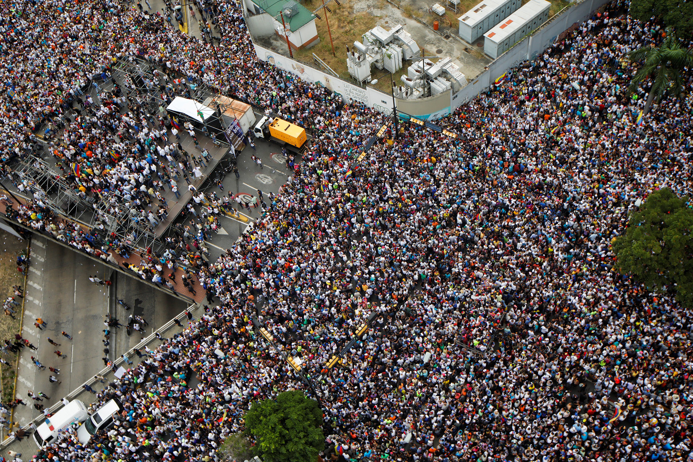 Opposition supporters during a rally against President Nicolas Maduro's government and to commemorate the 61st anniversary of the end of the dictatorship of Marcos Perez Jimenez in Caracas on Jan. 23, 2019.