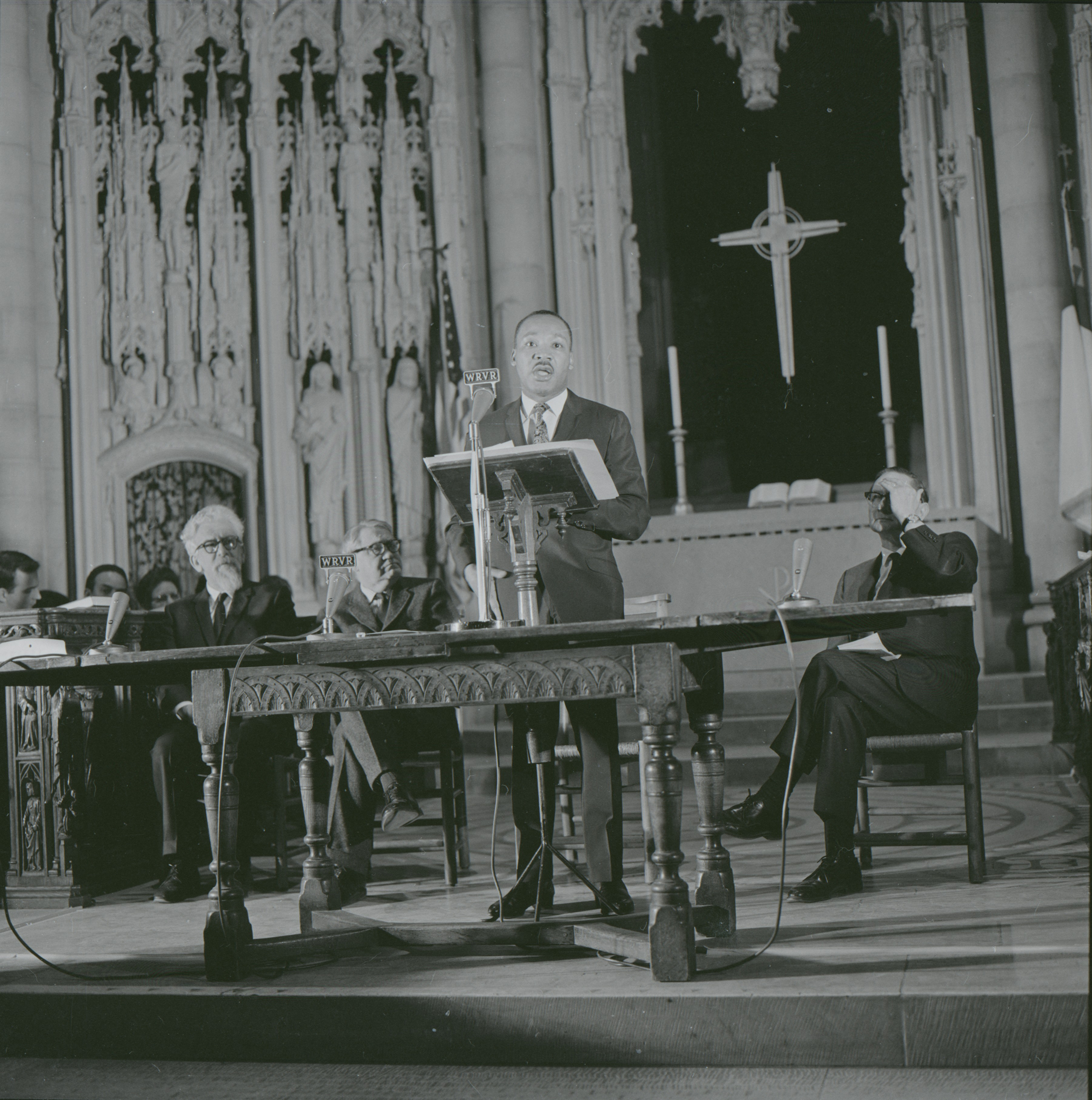 "King delivering his speech ""Beyond Vietnam"" at New York City's Riverside Church in 1967"