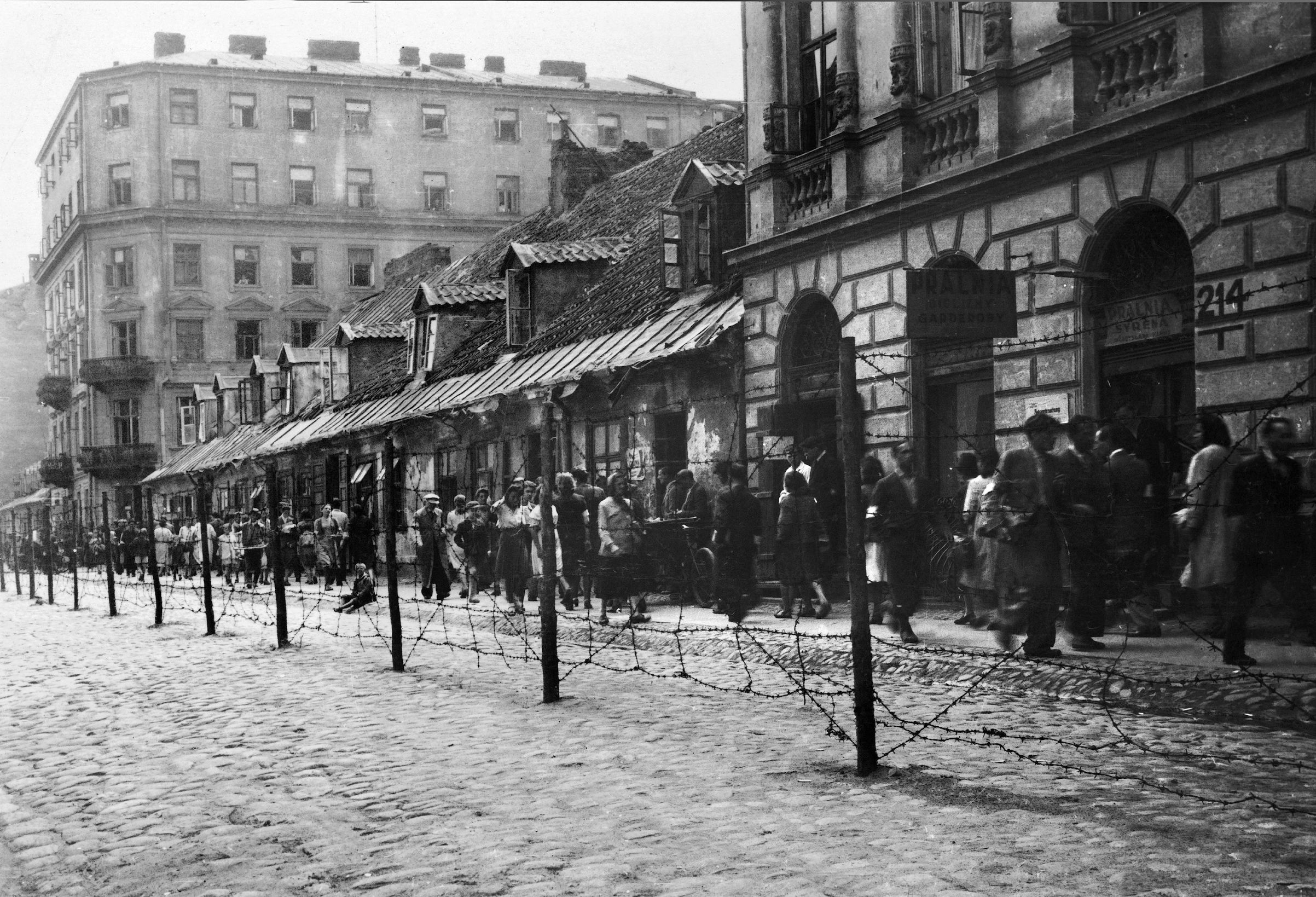 The Warsaw Ghetto behind barbed wire, early 1940s
