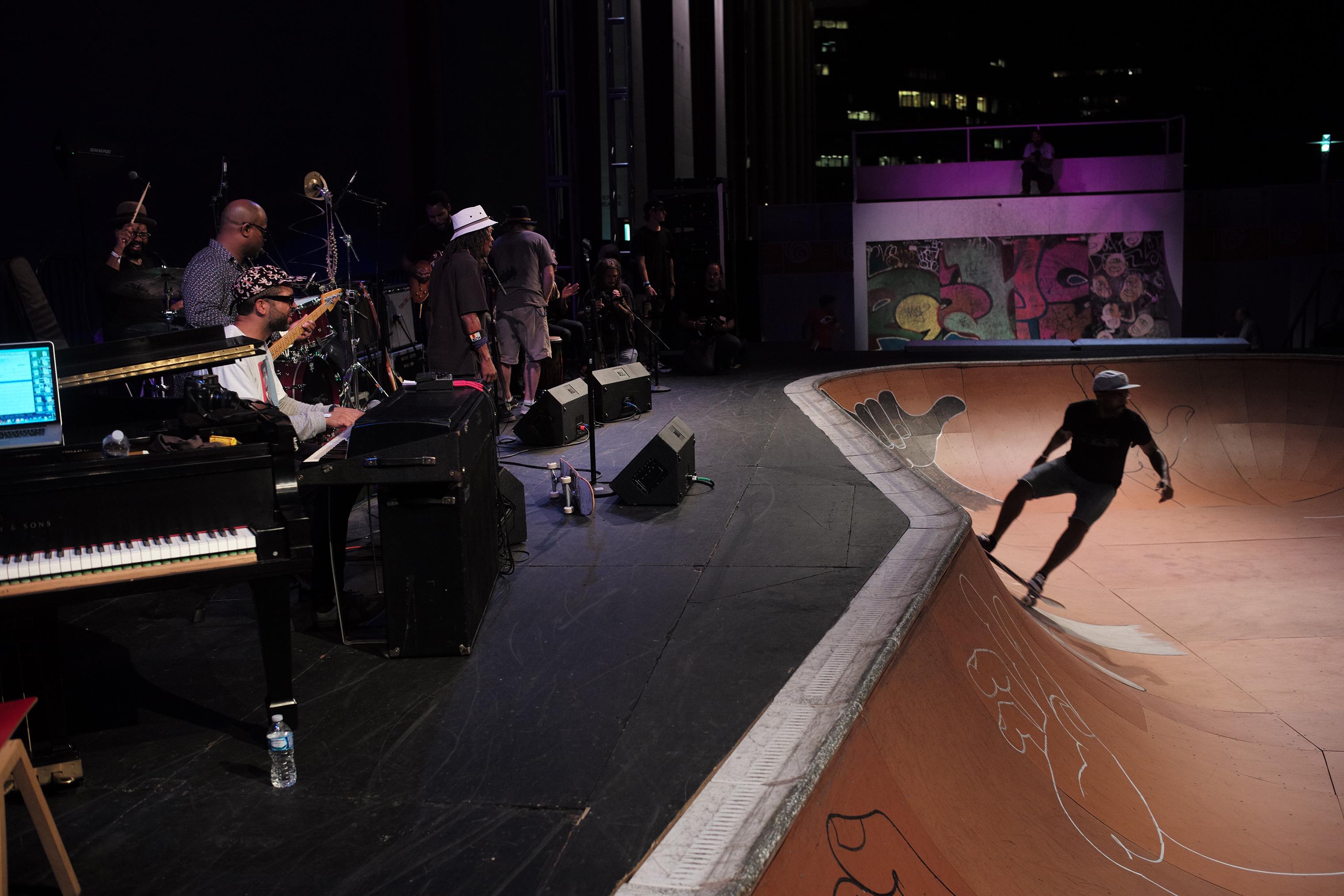 Jason Moran and the Bandwagon play alongside skateboarder Chuck Treece