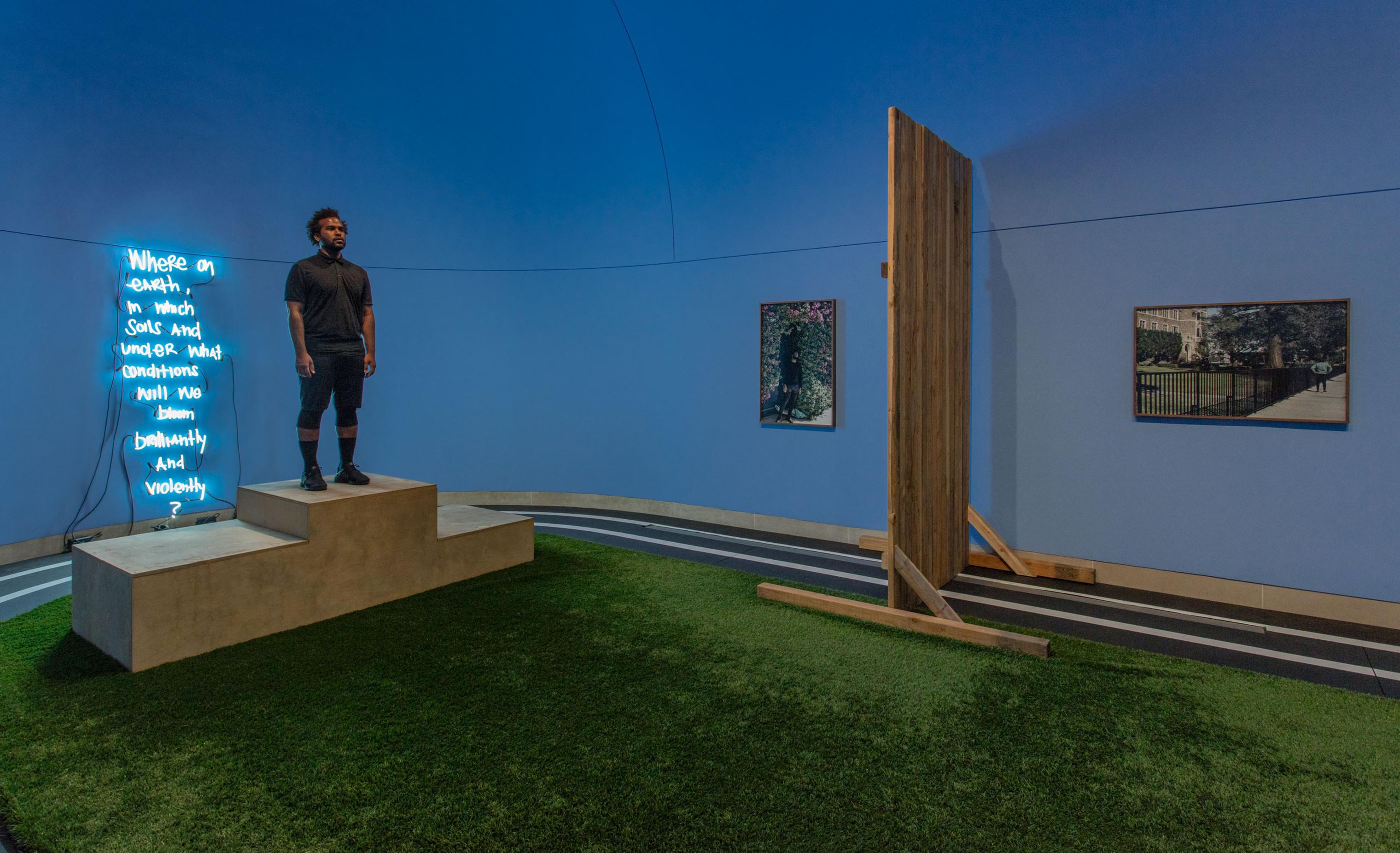 EJ Hill in his installation Excellentia, Mollitia, Victoria