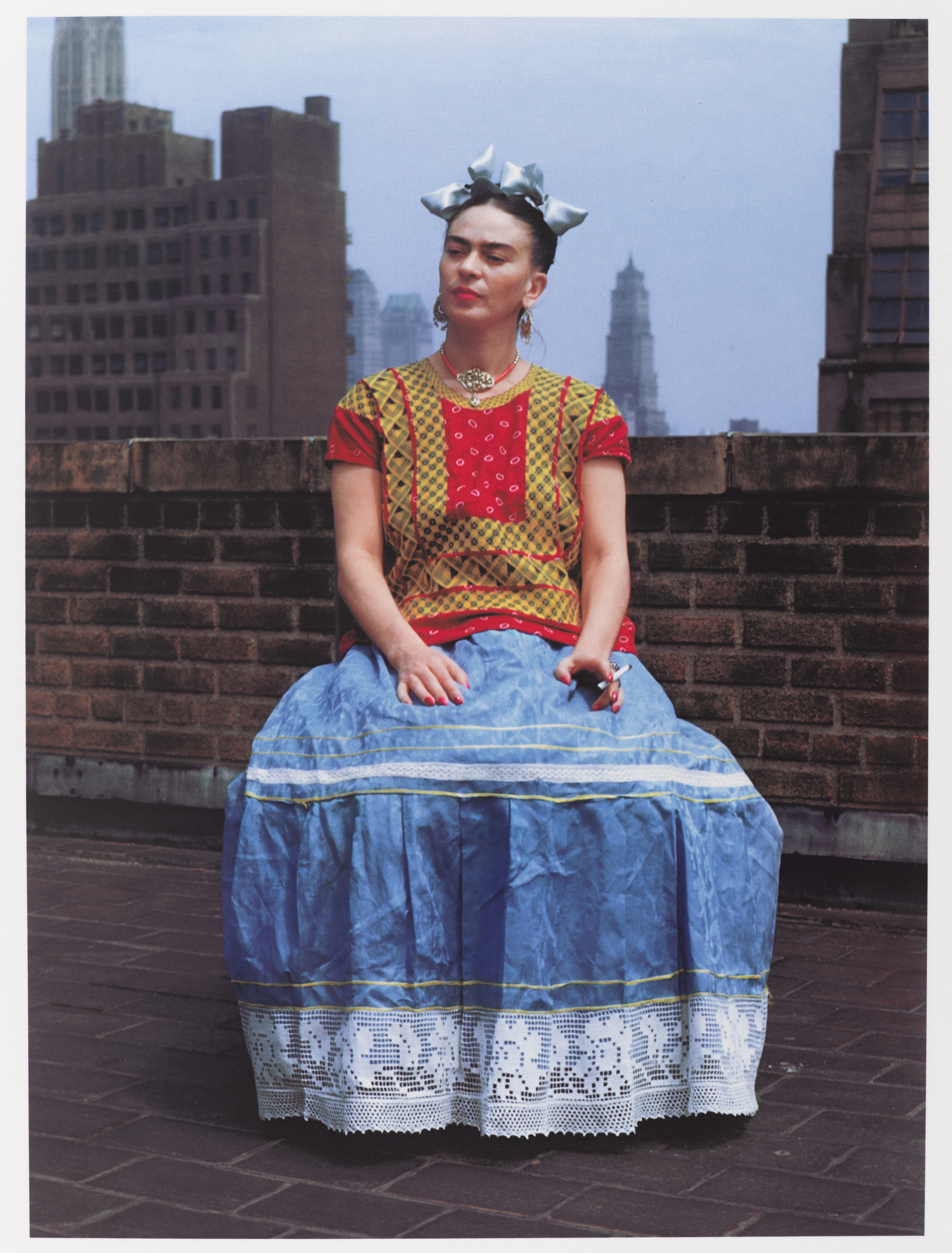 A photograph of Frida Kahlo taken in New York by Nickolas Muray.