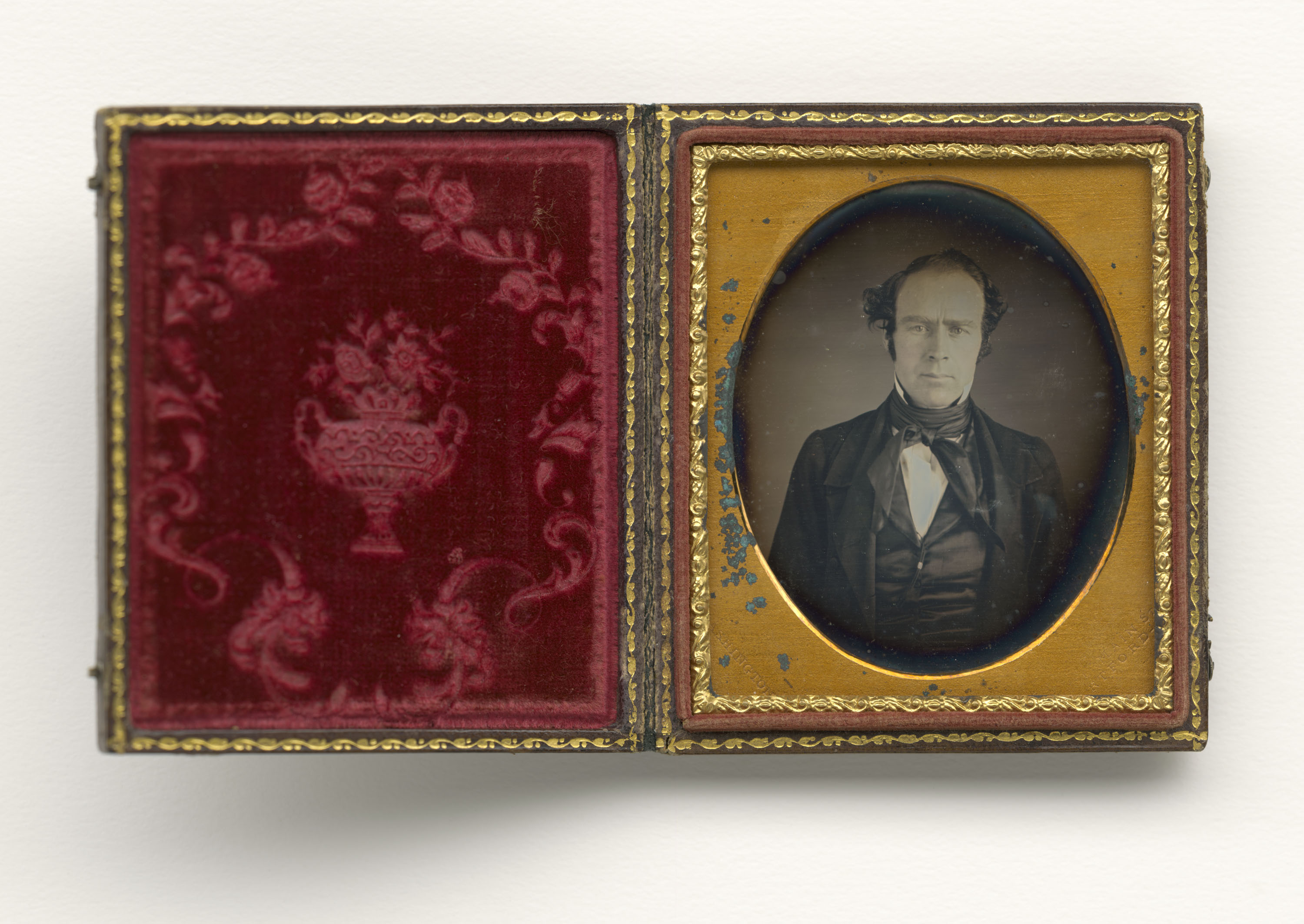 Daguerreotype photograph of a white man taken by Augustus Washington ca. 1850. Washington opened a photo studio in Connecticut in 1843 and advertised in abolitionist papers; he immigrated to Liberia in 1853.