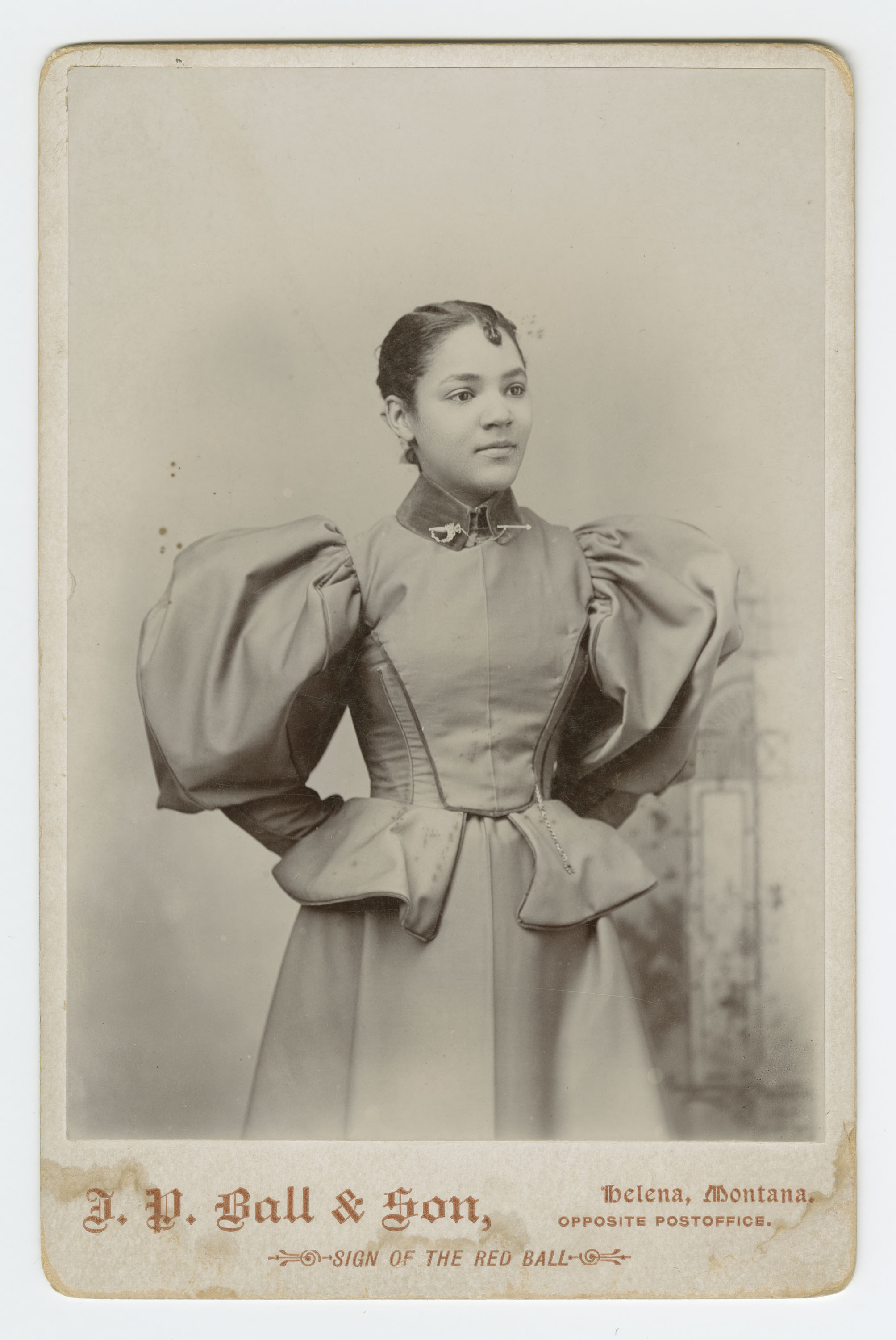 Cabinet card of an unidentified woman photographed by JP Ball & Son, 1887-1900. James Presley Ball put his work to use in the service of the anti-slavery movement, for example by exhibiting pictures  and paintings that showed the institution's cruelty, in a Cincinnati show in 1855.