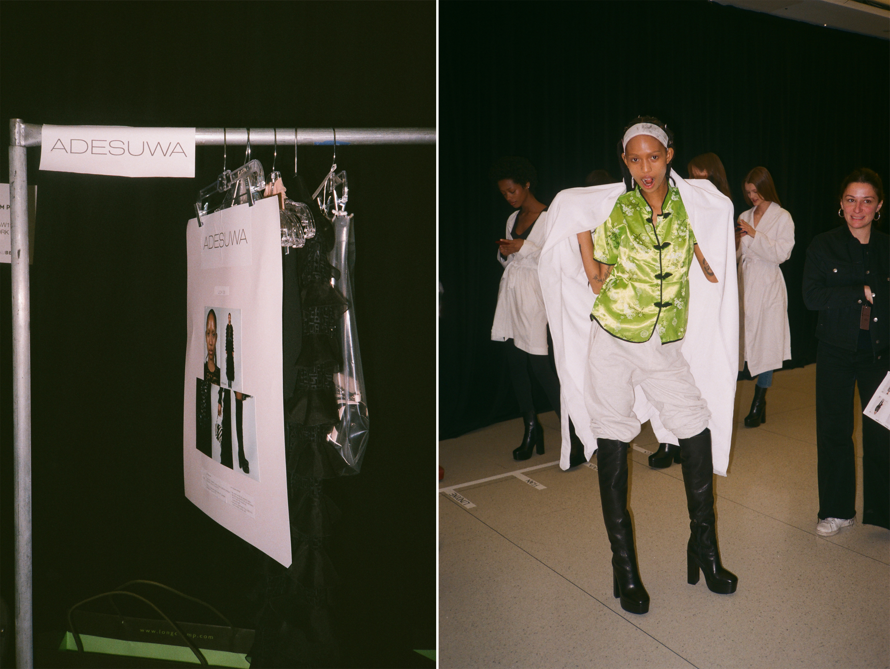 Left: Aighewi's look for the Longchamp show hangs backstage; Right: Aighewi, wearing the knee-high boots that she will wear during the show, waits for the second rehearsal