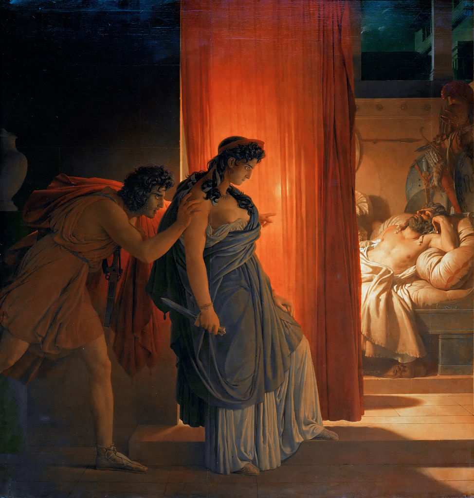 Clytemnestra hesitates before killing the sleeping Agamemnon. Found in the collection of Louvre, Paris.