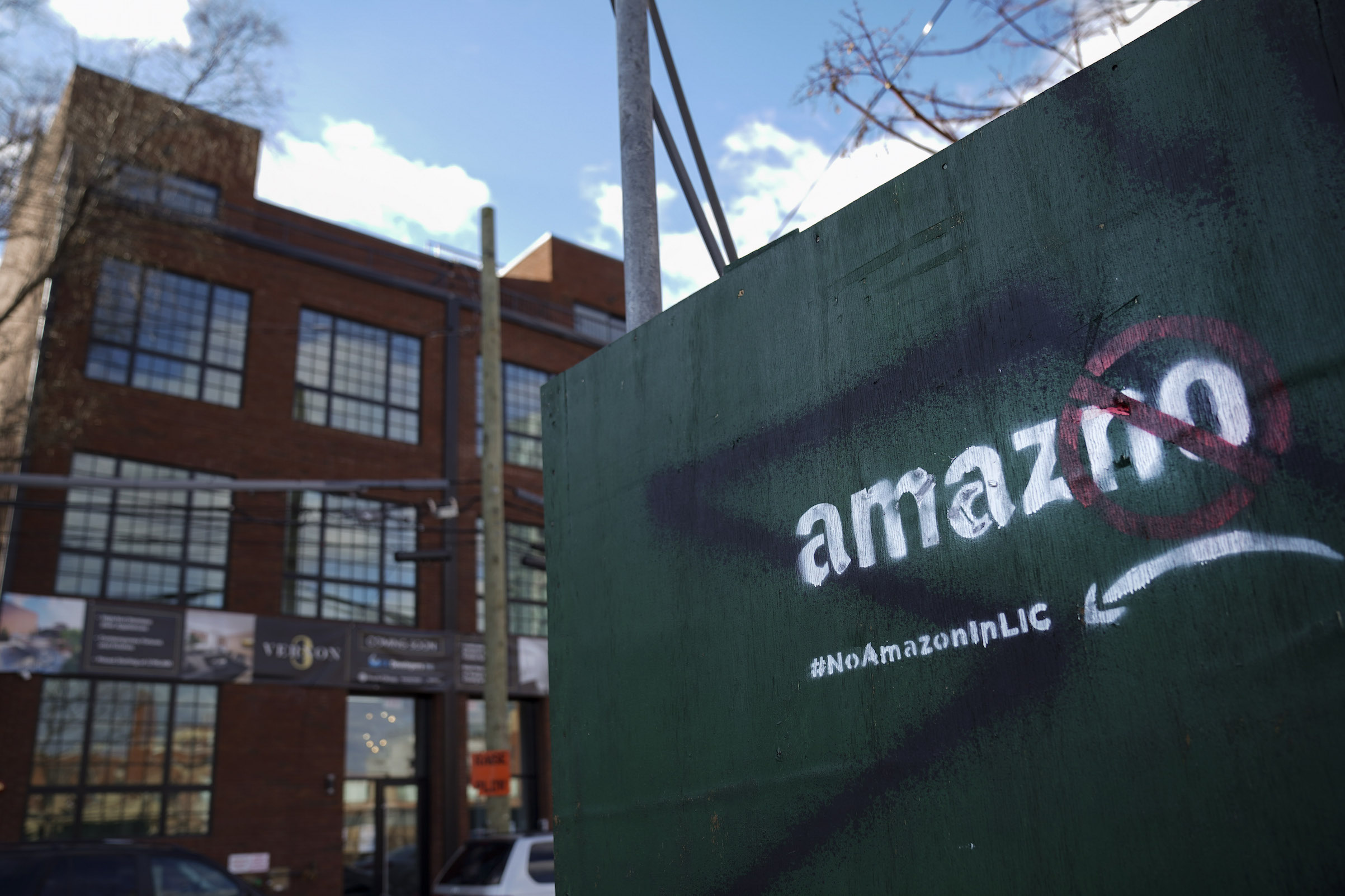 A protest message directed at Amazon is spray painted on a wall near a construction site Jan. 9, 2019, in the Long Island City neighborhood of the Queens borough of New York City.