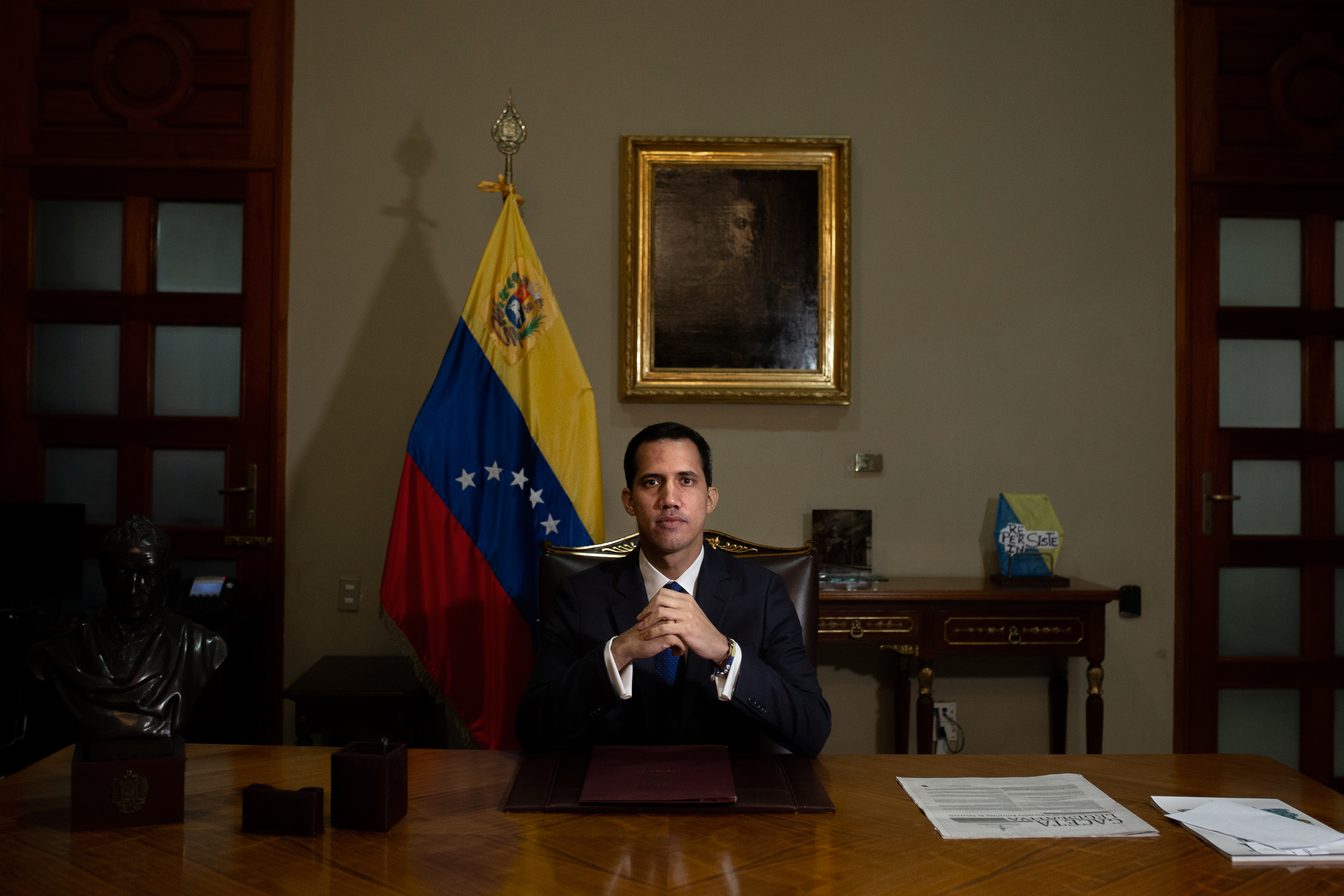 Guaidó poses for a portrait in his office in Caracas on Feb. 5, 2019.
