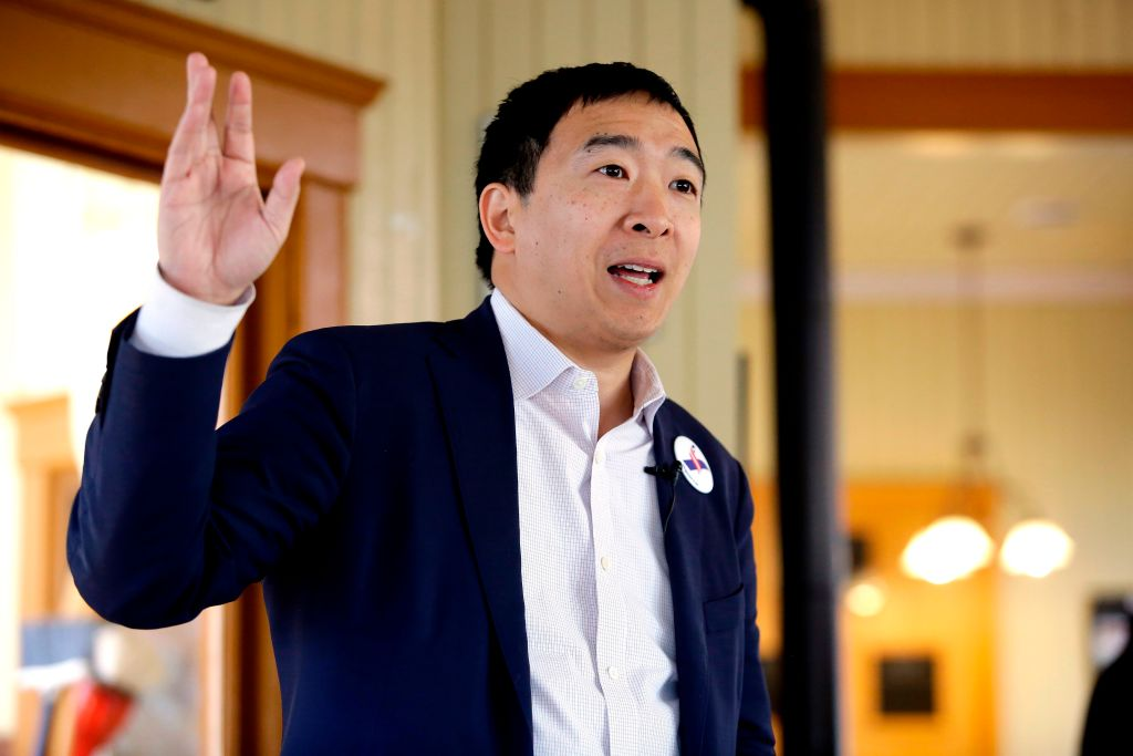 Entrepreneur and 2020 presidential candidate Andrew Yang speaks during a campaign stop at the train depot in Jefferson, Iowa on Feb. 1, 2019.