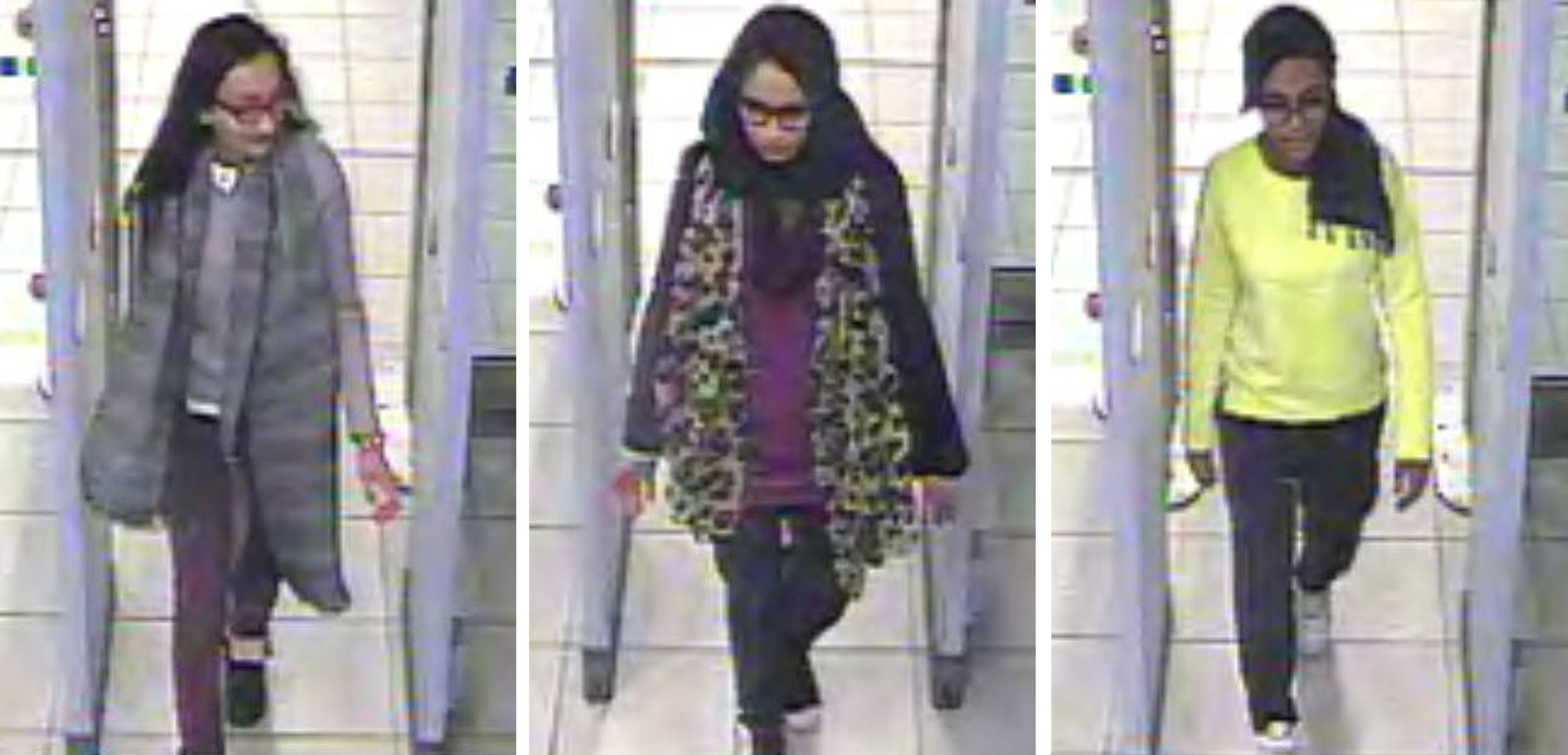 This handout image of a three stills taken from CCTV shows Kadiza Sultana, left, Shamima Begum, center, and Amira Abase going through security at Gatwick airport, south England on Feb. 23, 2015.