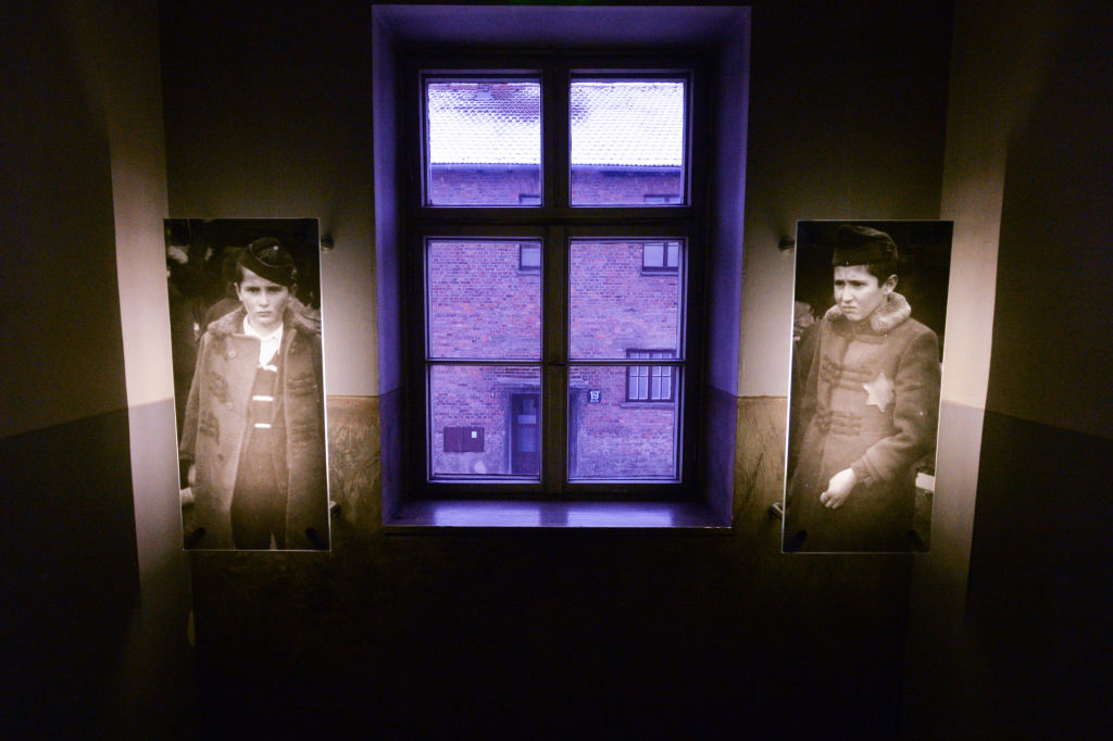 Images of the victims seen inside the museum at Auschwitz I camp.