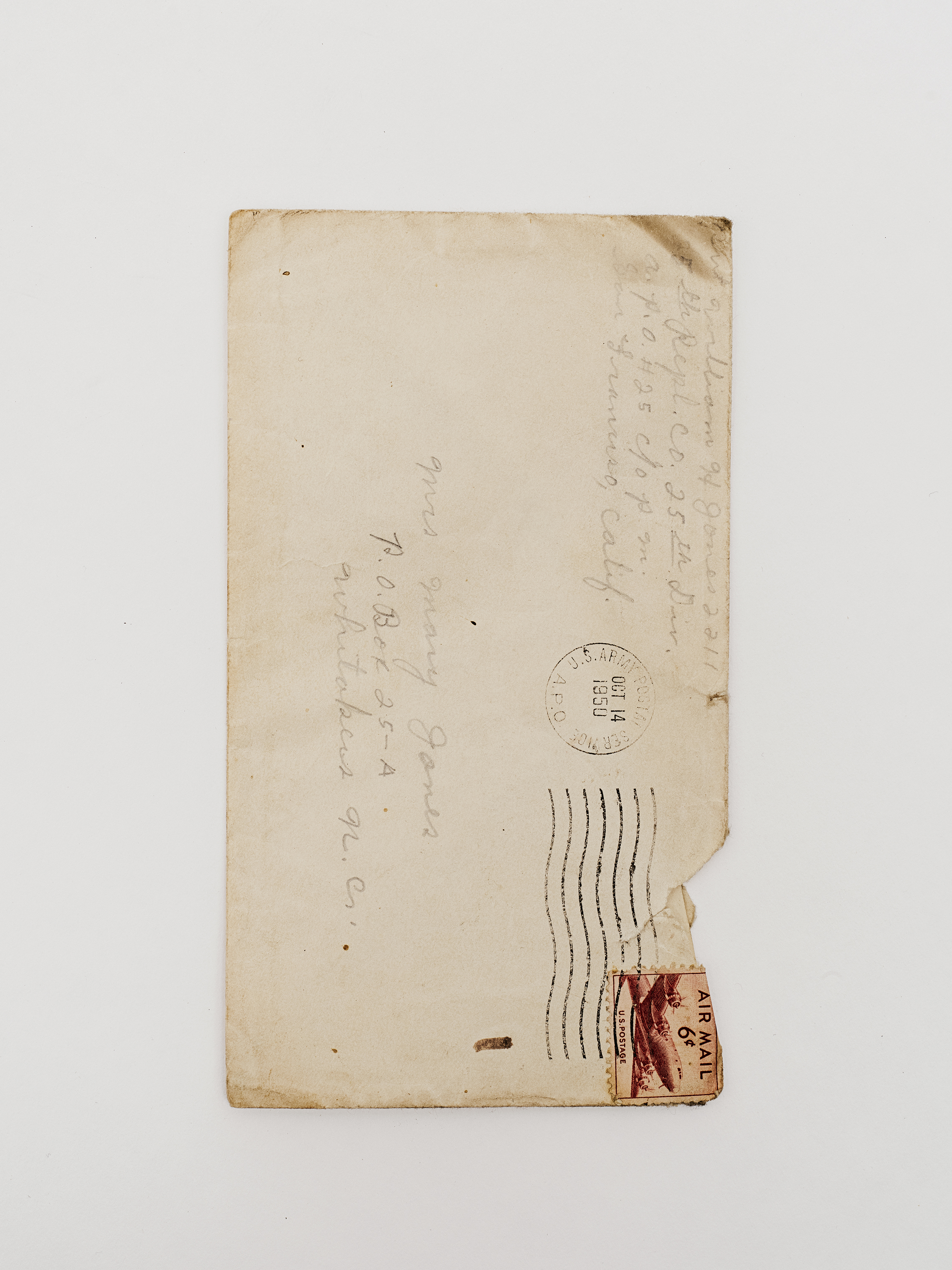 The envelope of a letter sent by Hoover to his mother, post-dated Oct. 14, 1950.