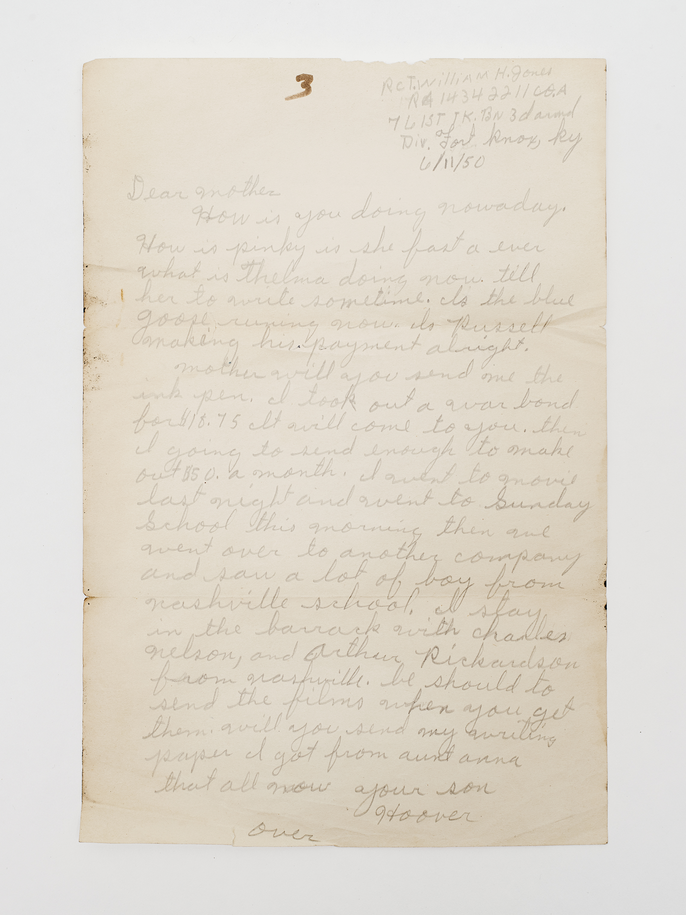 In the letter, Hoover asks for writing paper and an ink pen.