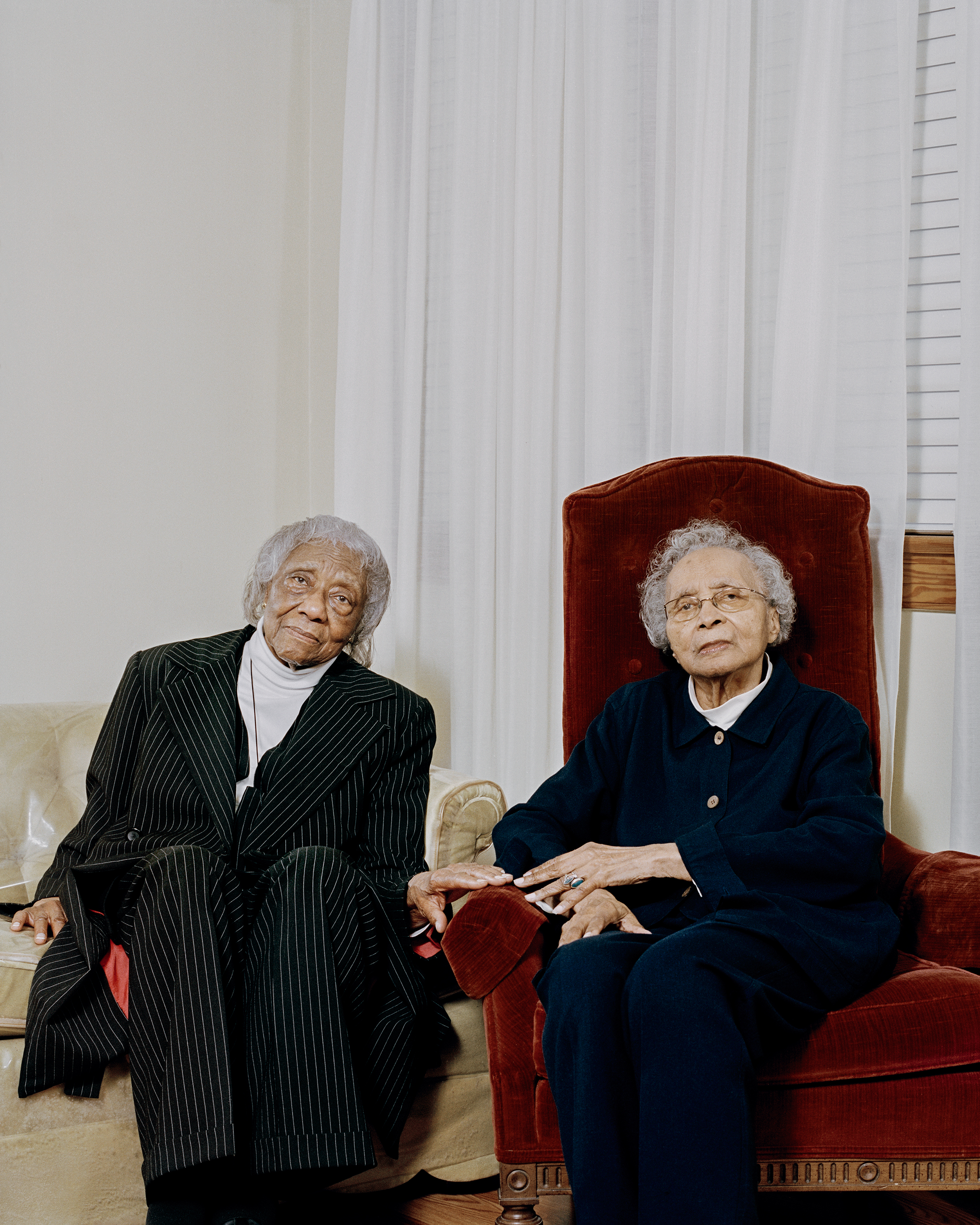 Two of Private Hoover Jones' sisters, Ida Dickens, 92, and Elizabeth Jones Ohree, 95, in North Carolina in February.