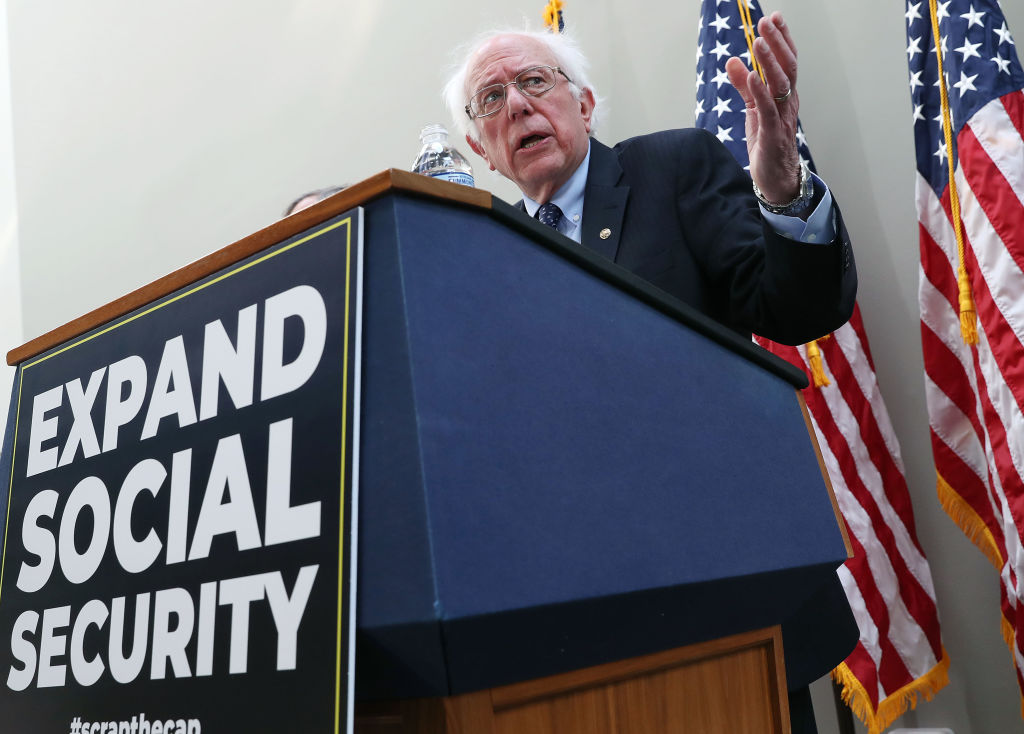 Sen.Bernie Sanders (I-VT) speaks during a news conference to announce legislation to expand Social Security, on Capitol Hill Feb. 13, 2019 in Washington, D.C. Sanders announced he is running for president in 2020.