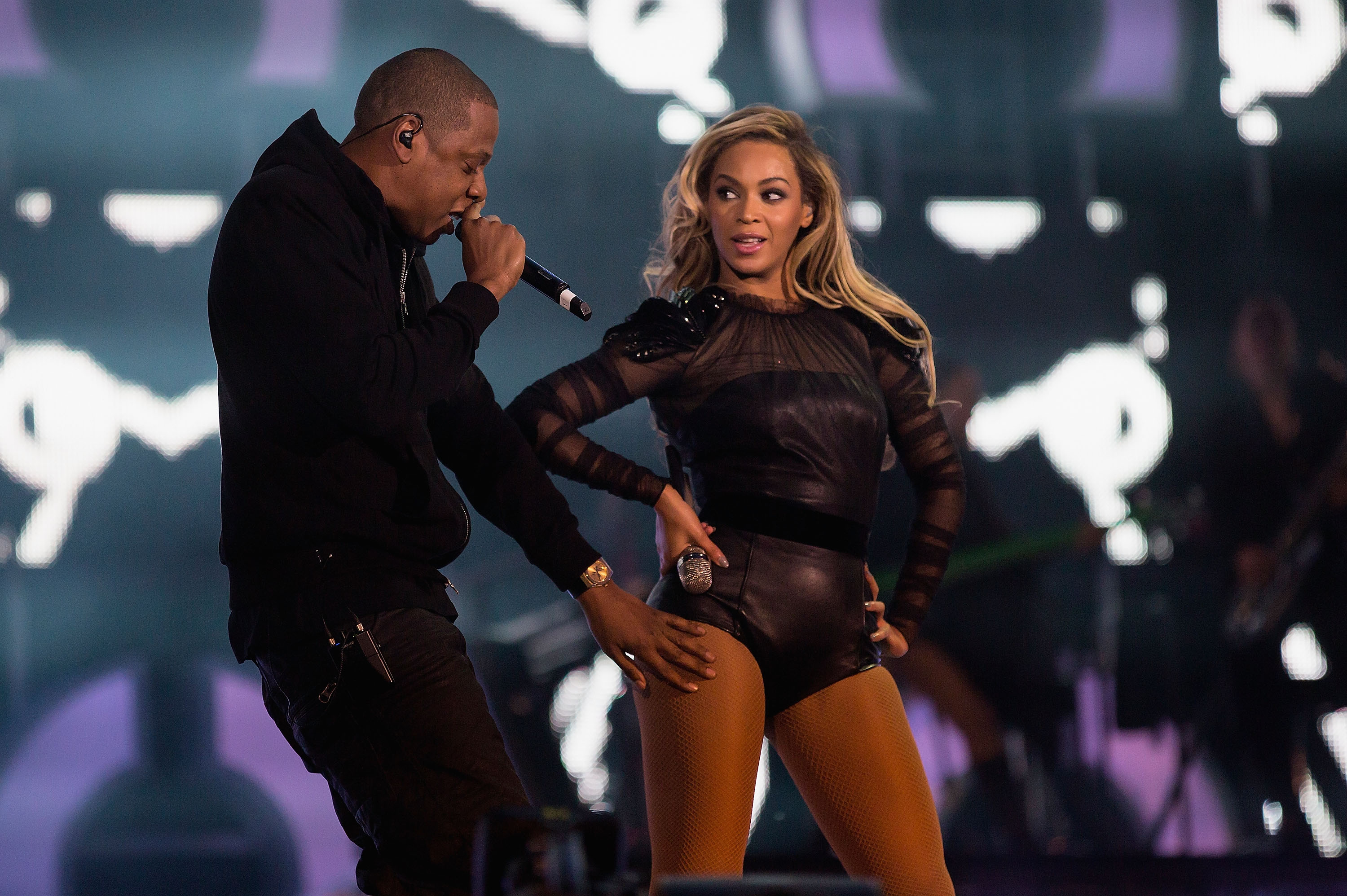 JAY-Z joins Beyonce on stage for 'Crazy In Love' at the  Chime For Change: The Sound Of Change Live  Concert at Twickenham Stadium on June 1, 2013 in London, England.
