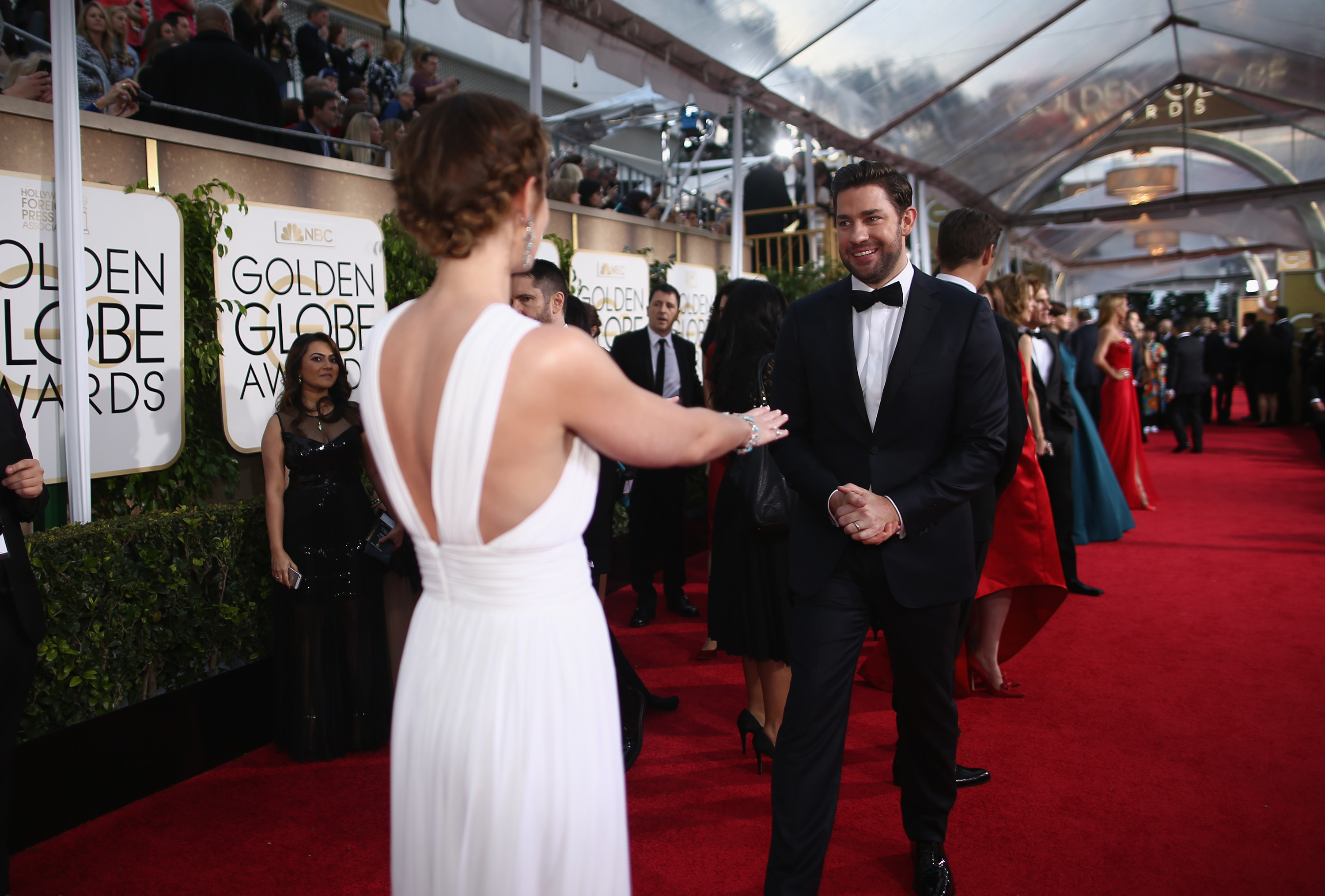 Actors Emily Blunt and John Krasinski arrive to the 72nd Annual Golden Globe Awards held at the Beverly Hilton Hotel on January 11, 2015.