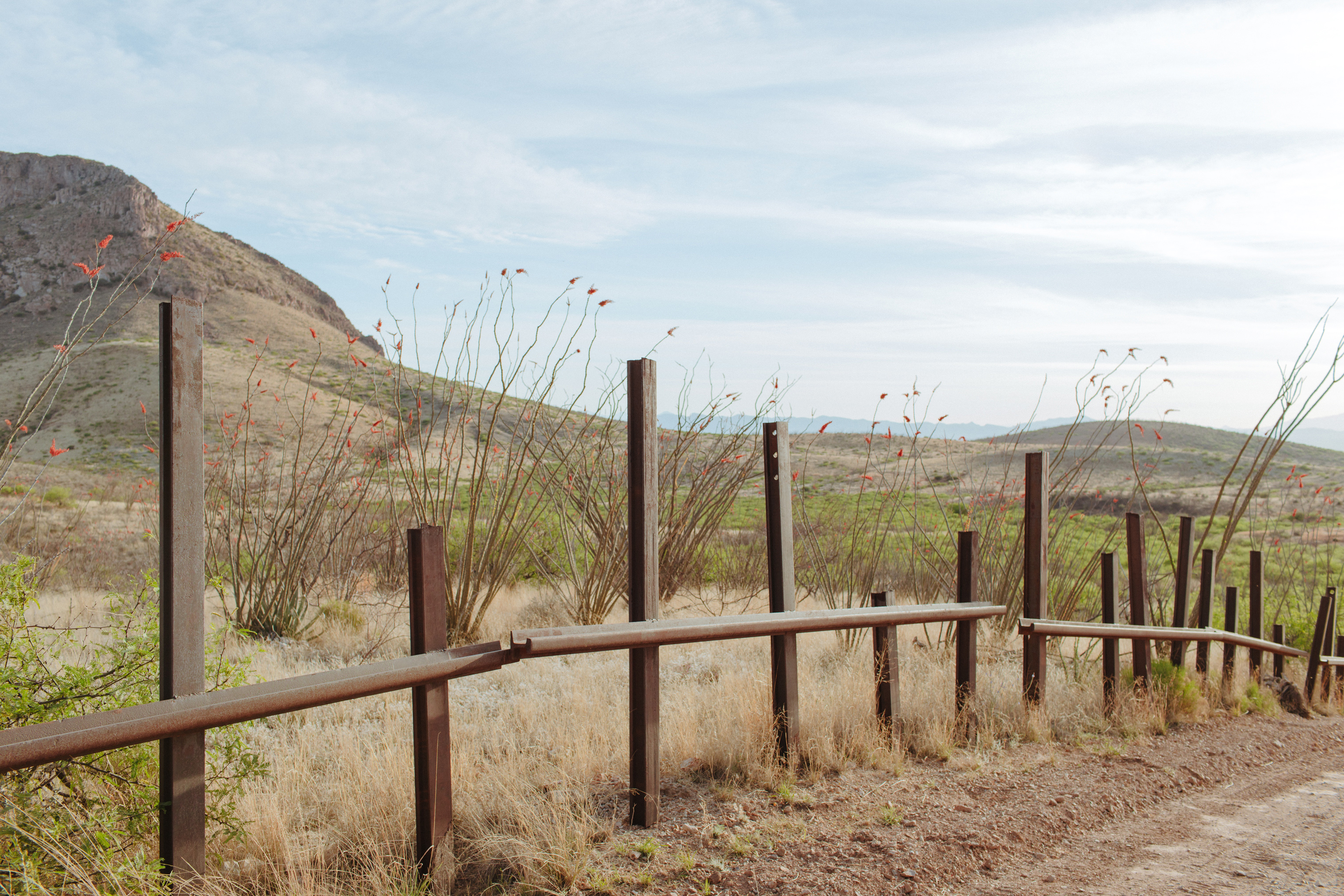 Welded old railroad ties along the border east of Douglas, Ariz.