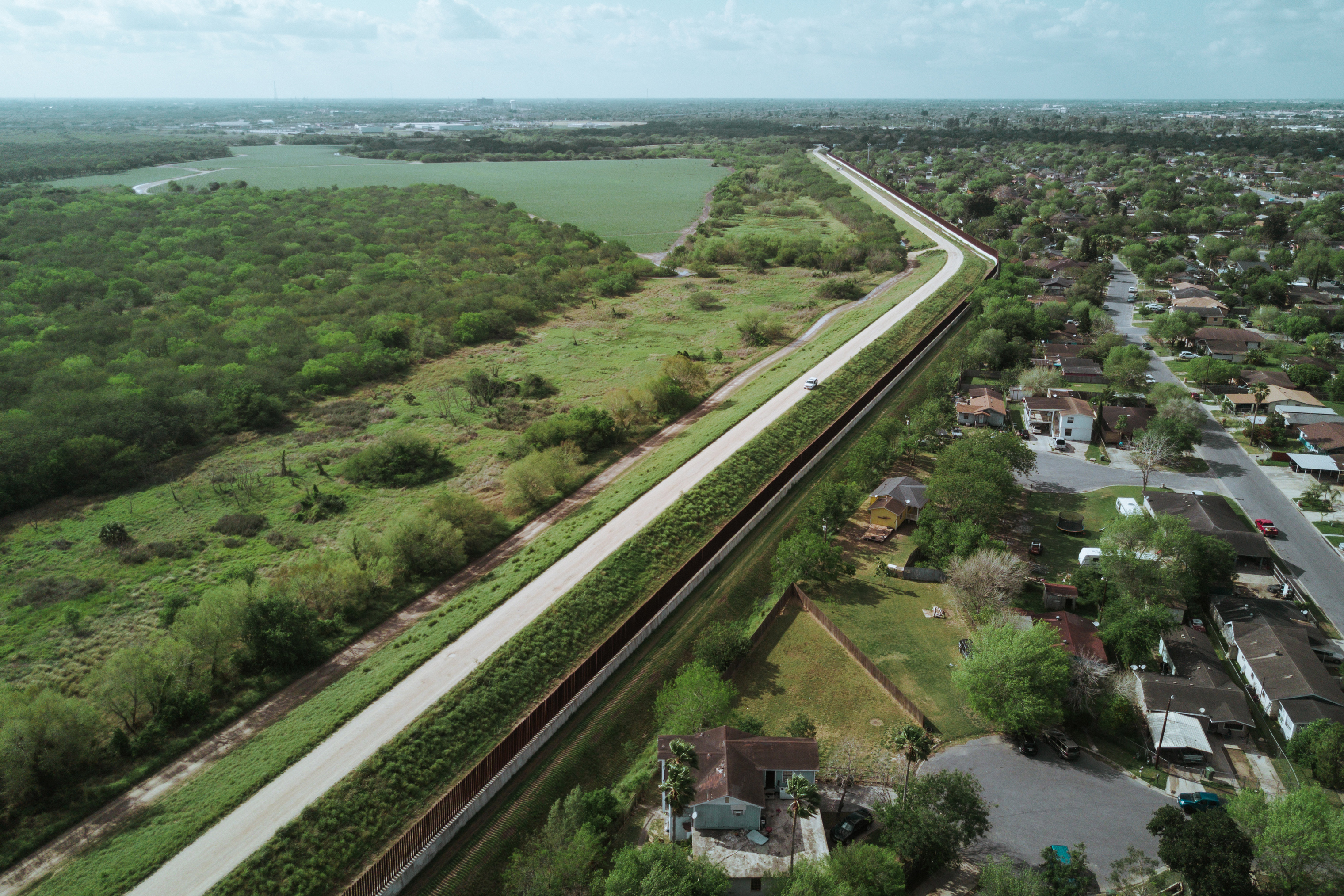 Aerial view of the border in Brownsville, Texas.