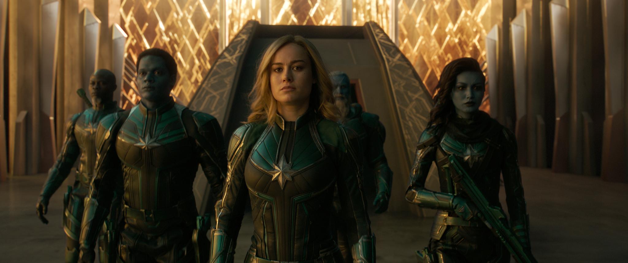 L to R: Korath (Djimon Hounsou), Att-Lass (Algenis Perez Soto), Carol Danvers/Captain Marvel (Brie Larson), Bron-Char (Rune Temte) and Minn-Erva (Gemma Chan)
