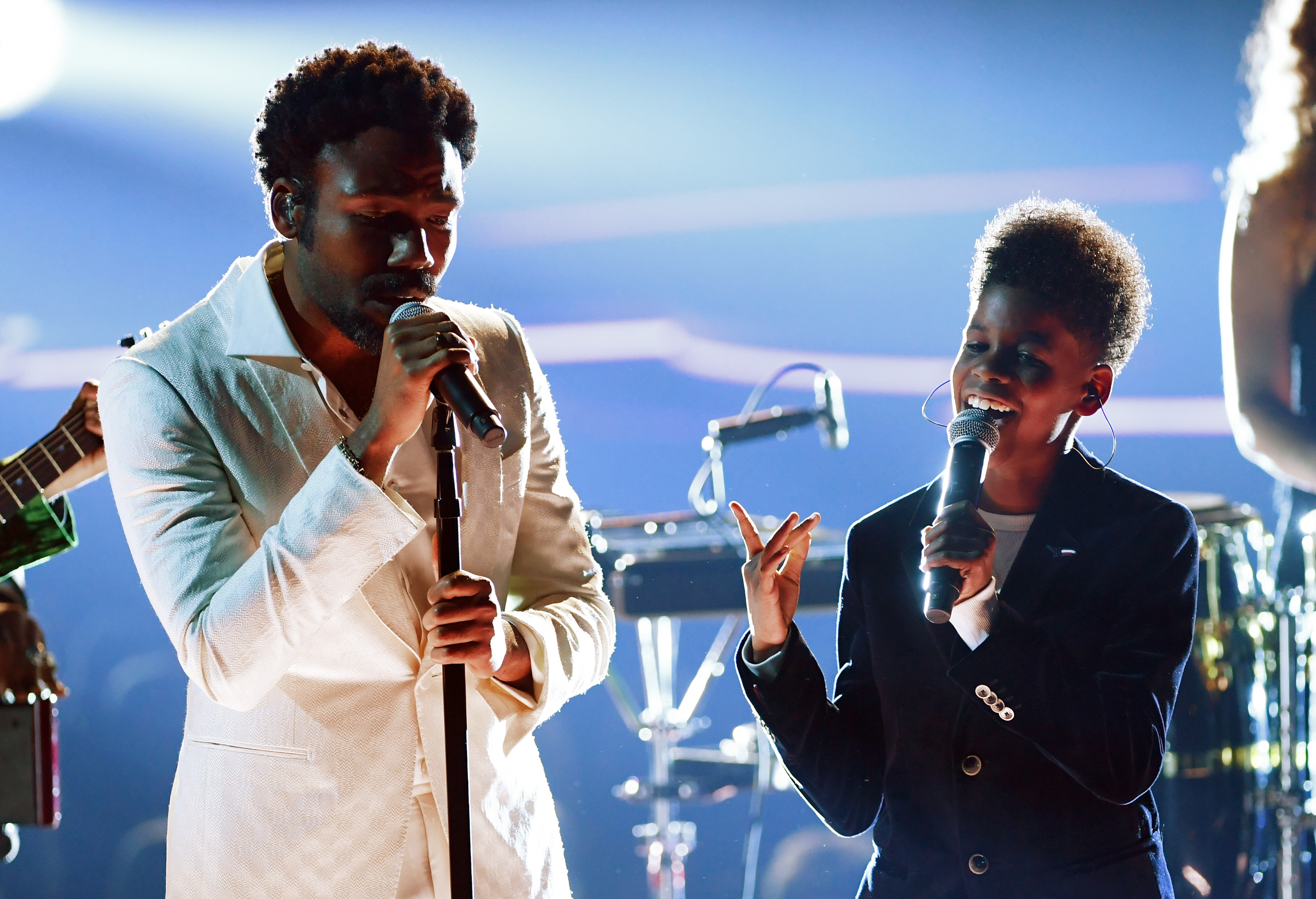Recording artists Childish Gambino (L) and JD McCrary perform onstage during the 60th Annual GRAMMY Awards at Madison Square Garden on January 28, 2018 in New York City.