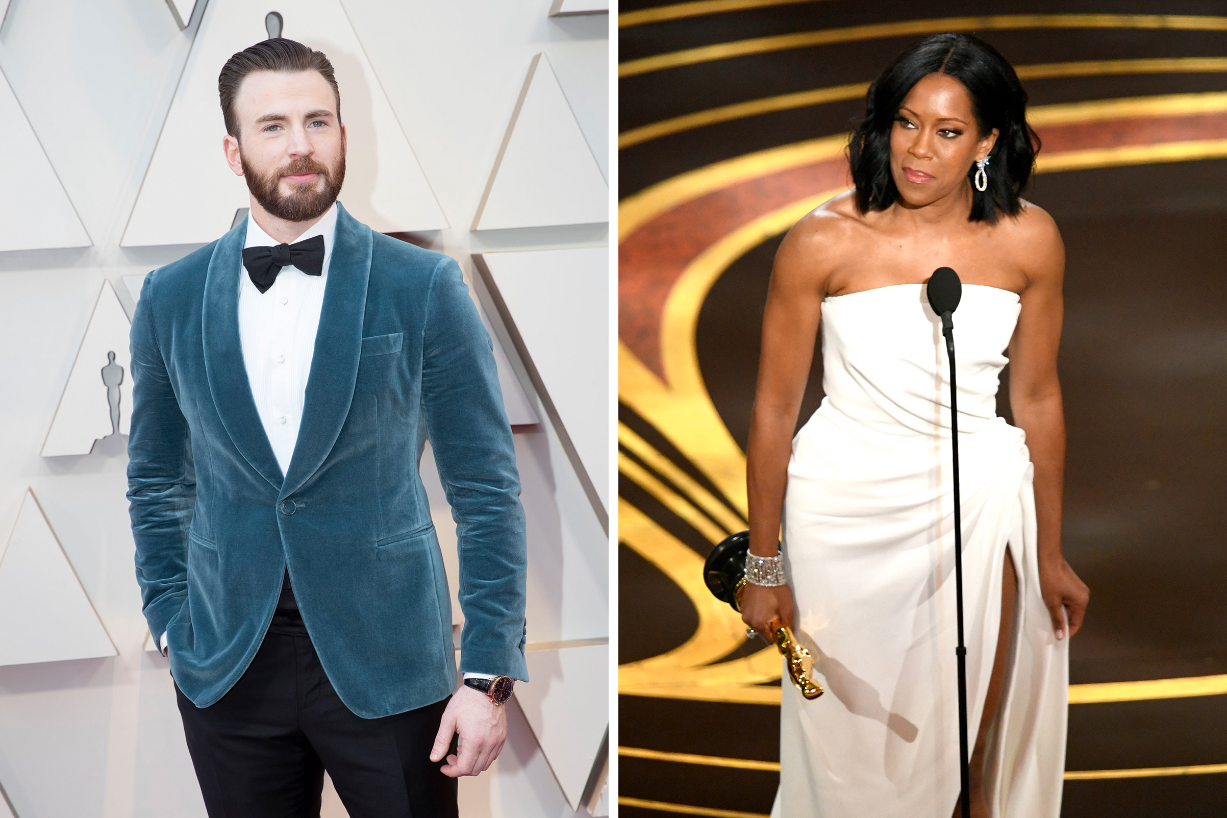 2019 Oscars Chris Evans Helps Regina King Up The Stairs Time