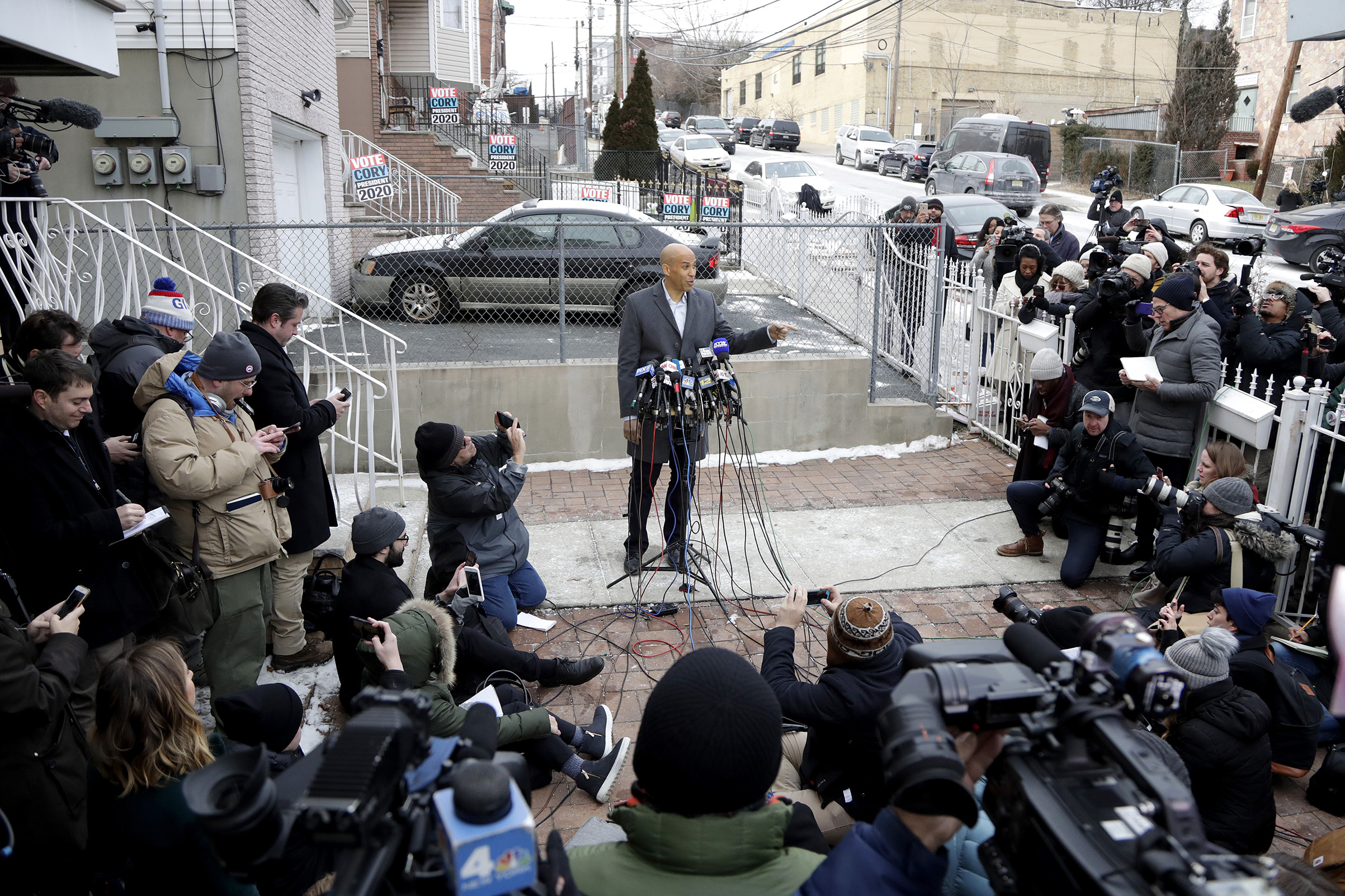 Sen. Cory Booker speaks during a news conference outside of his home in Newark, N.J. on Feb. 1, 2019.