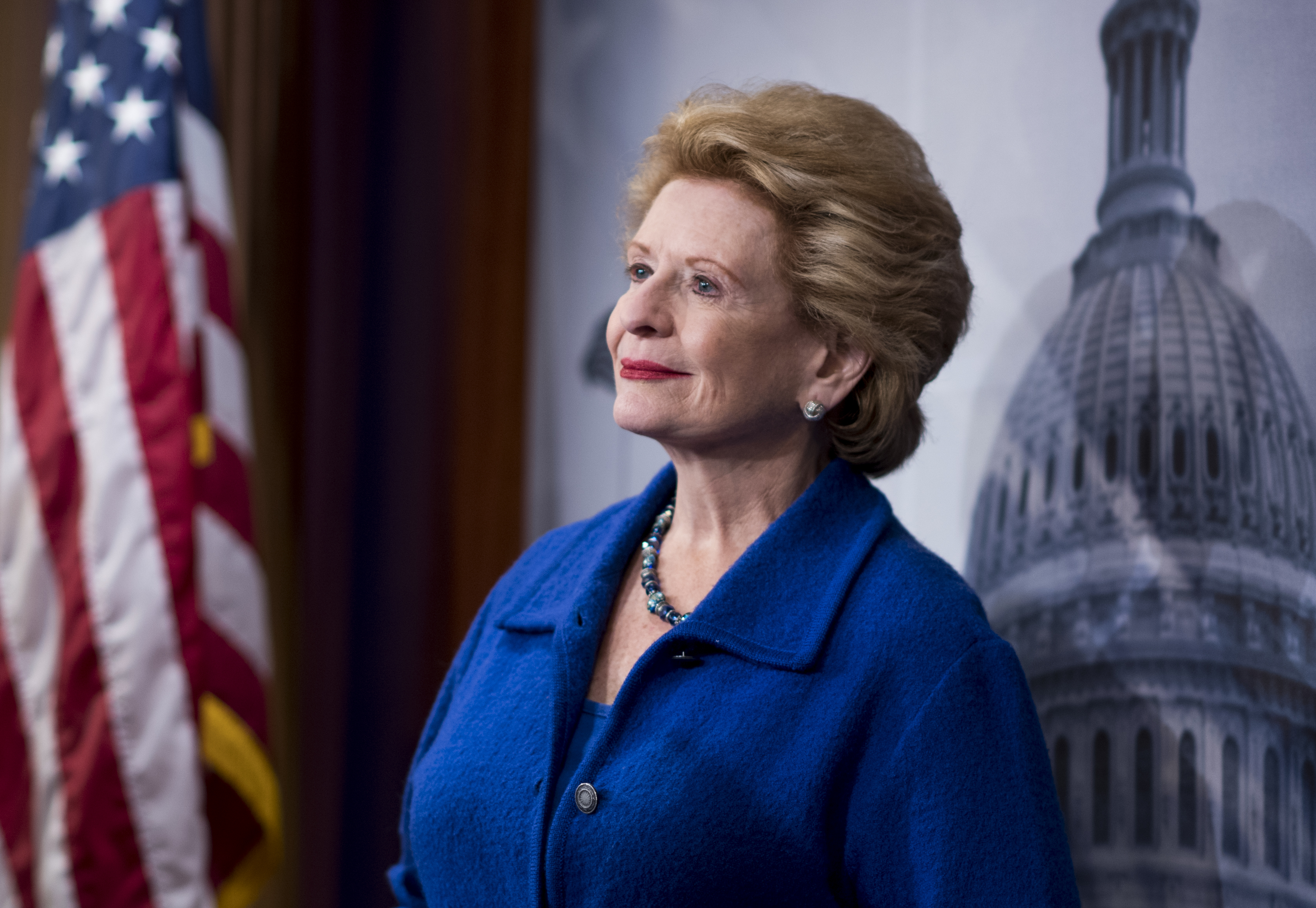 Sen. Debbie Stabenow, D-Mich., participates in the Senate Democrats' news conference to unveil a plan to protect and expand retirement savings on Tuesday, Oct. 31, 2017.