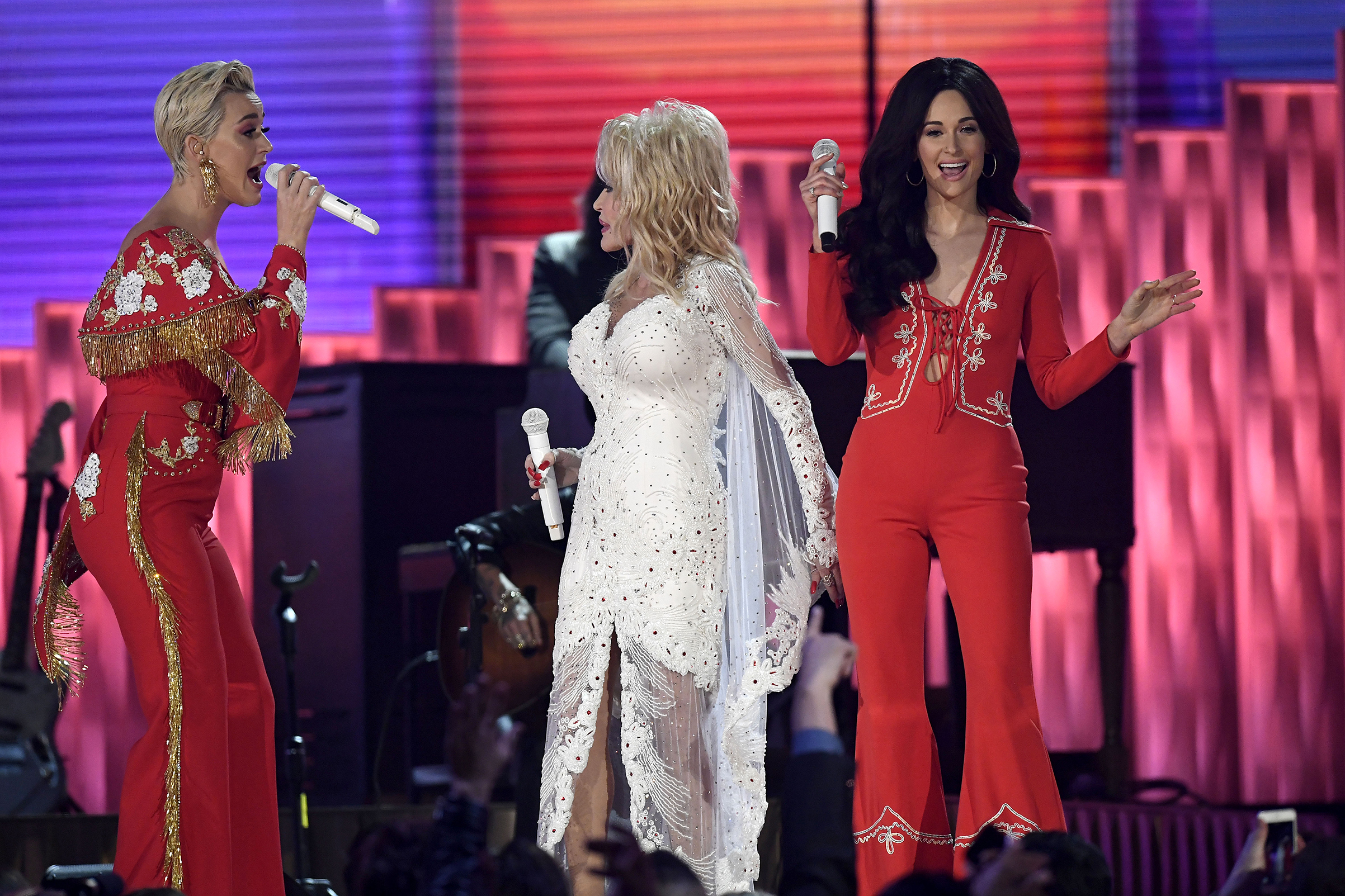 Katy Perry, Dolly Parton and Kacey Musgraves perform onstage during the 61st Annual GRAMMY Awards at Staples Center on Feb. 10, 2019 in Los Angeles.