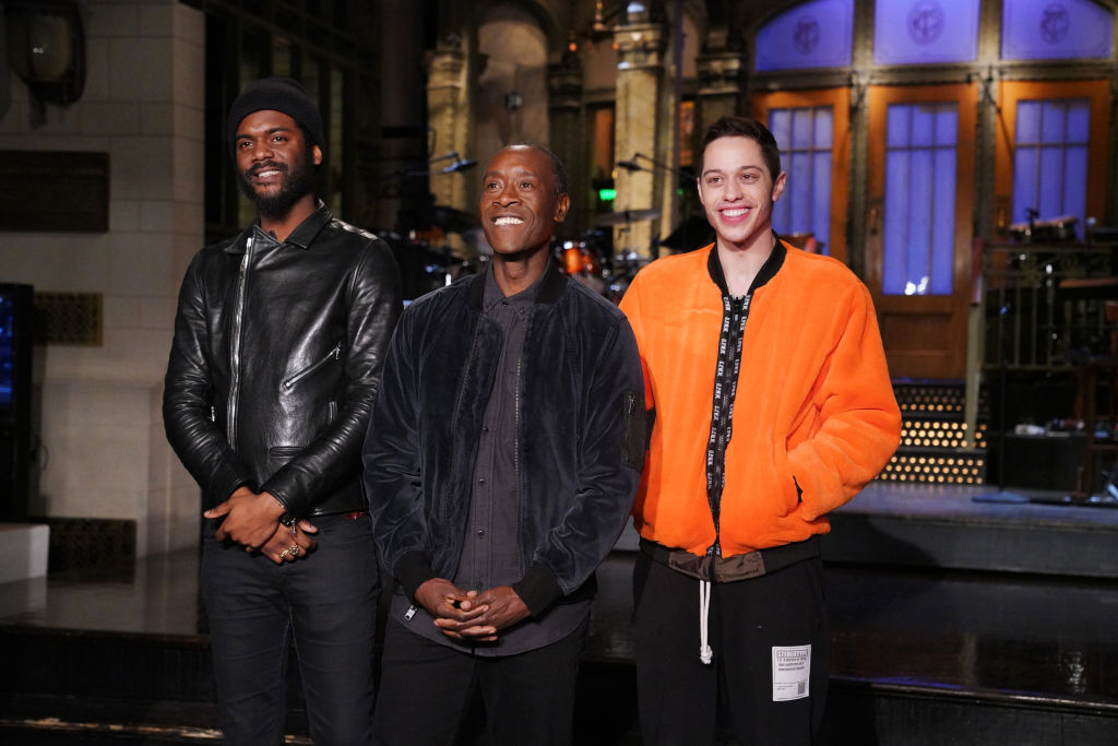 Musical guest Gary Clark Jr., host Don Cheadle, and Pete Davidson during Promos in Studio 8H on Feb. 14, 2019