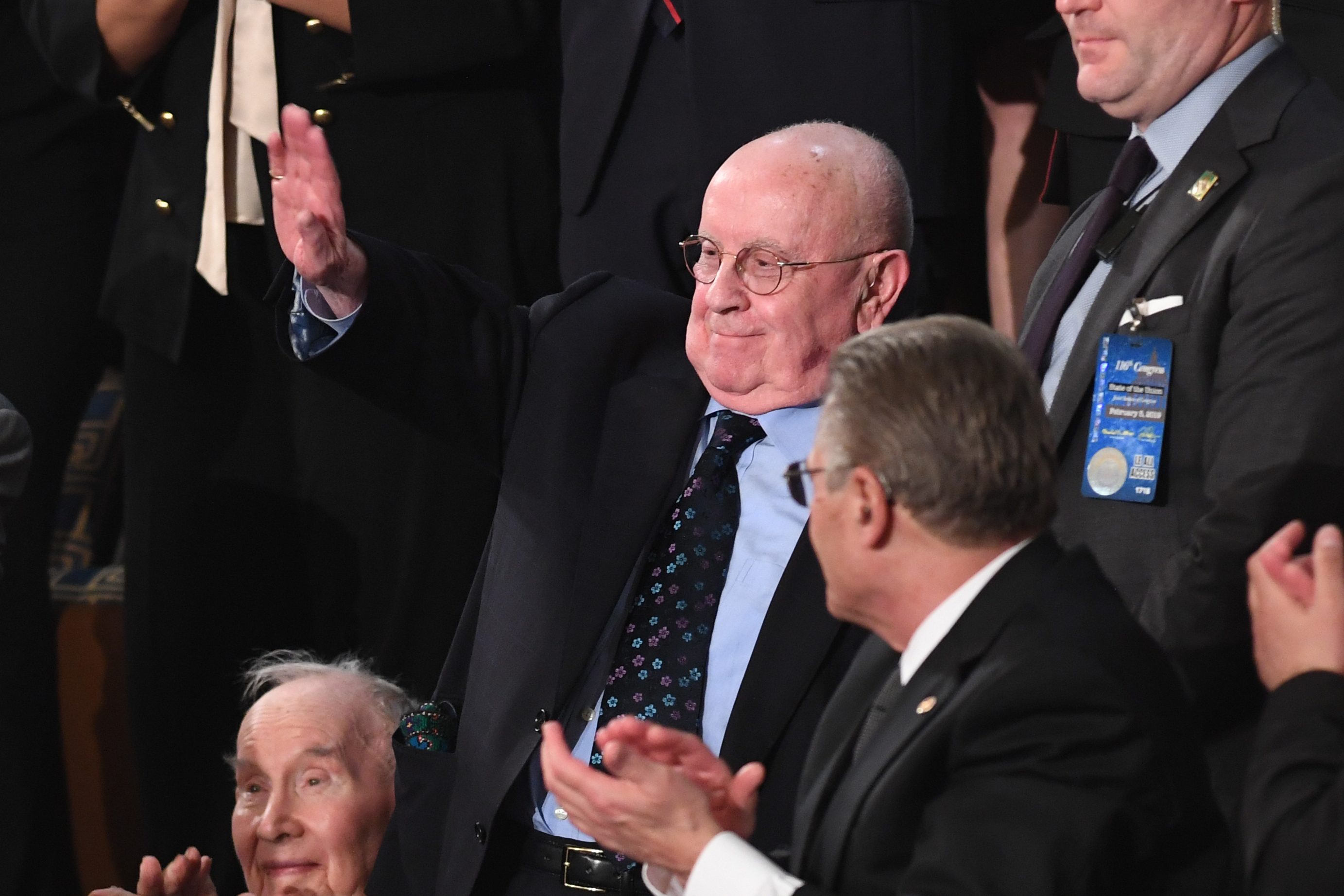 Special guest Judah Samet, a survivor of the Tree of Life Synagogue, waves as he is acknowledged during the State of the Union address at the US Capitol in Washington, DC, on Feb. 5, 2019.