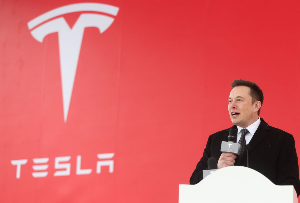 Tesla CEO Elon Musk speaks at the groundbreaking ceremony of Tesla Shanghai gigafactory in Shanghai, east China, Jan. 7, 2019.