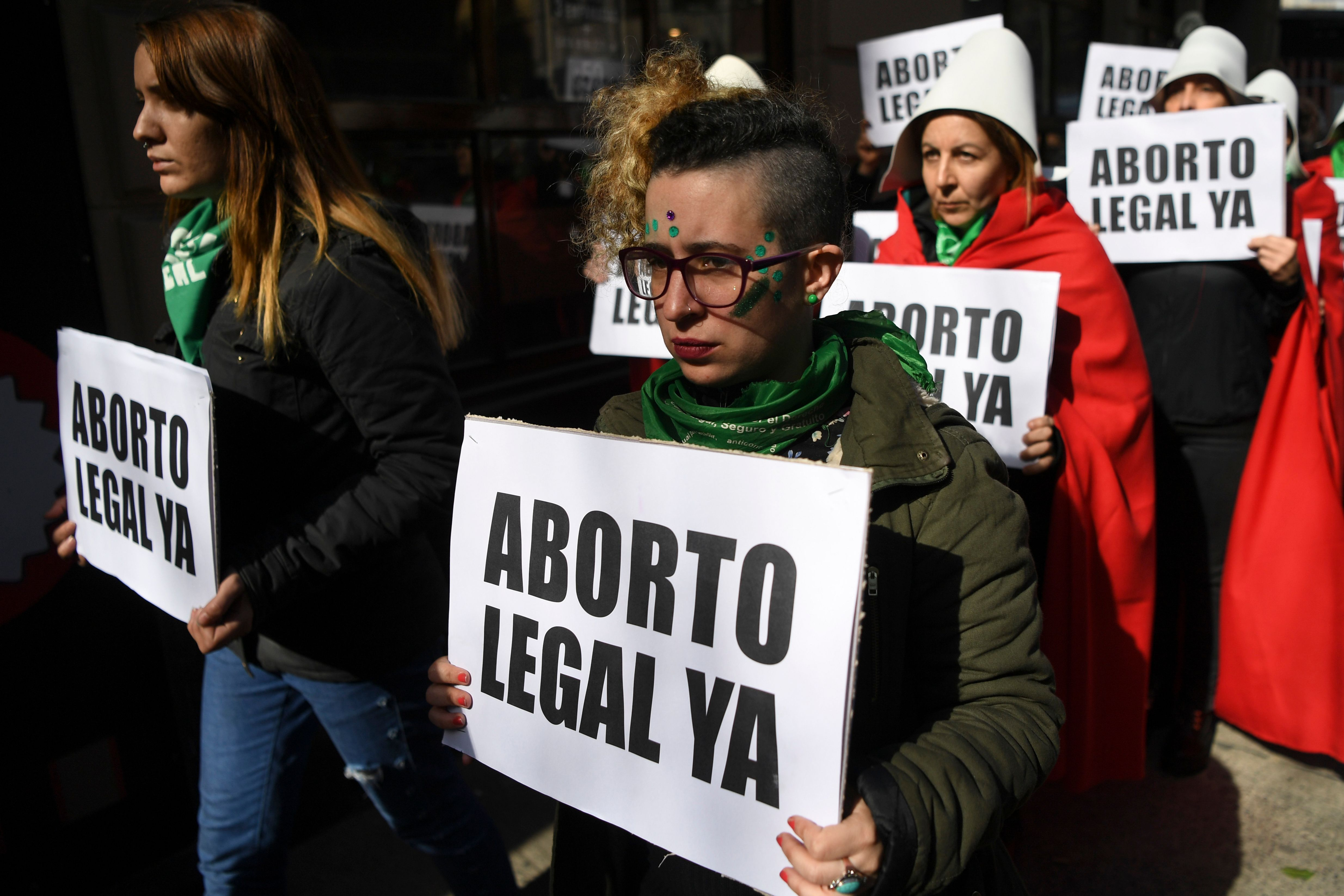 People in favor legalizing abortion demonstrate outside the National Congress in Buenos Aires, Argentina on Aug. 1, 2018.