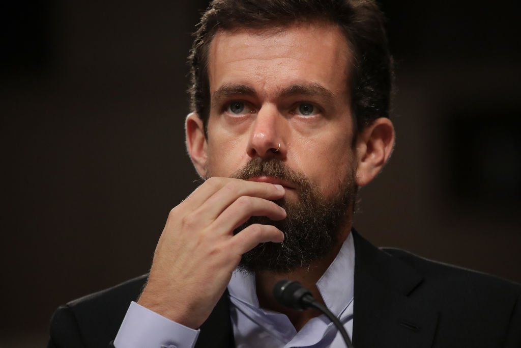 Twitter chief executive officer Jack Dorsey testifies during a Senate Intelligence Committee hearing on Capitol Hill in Washington on Sept. 5, 2018.