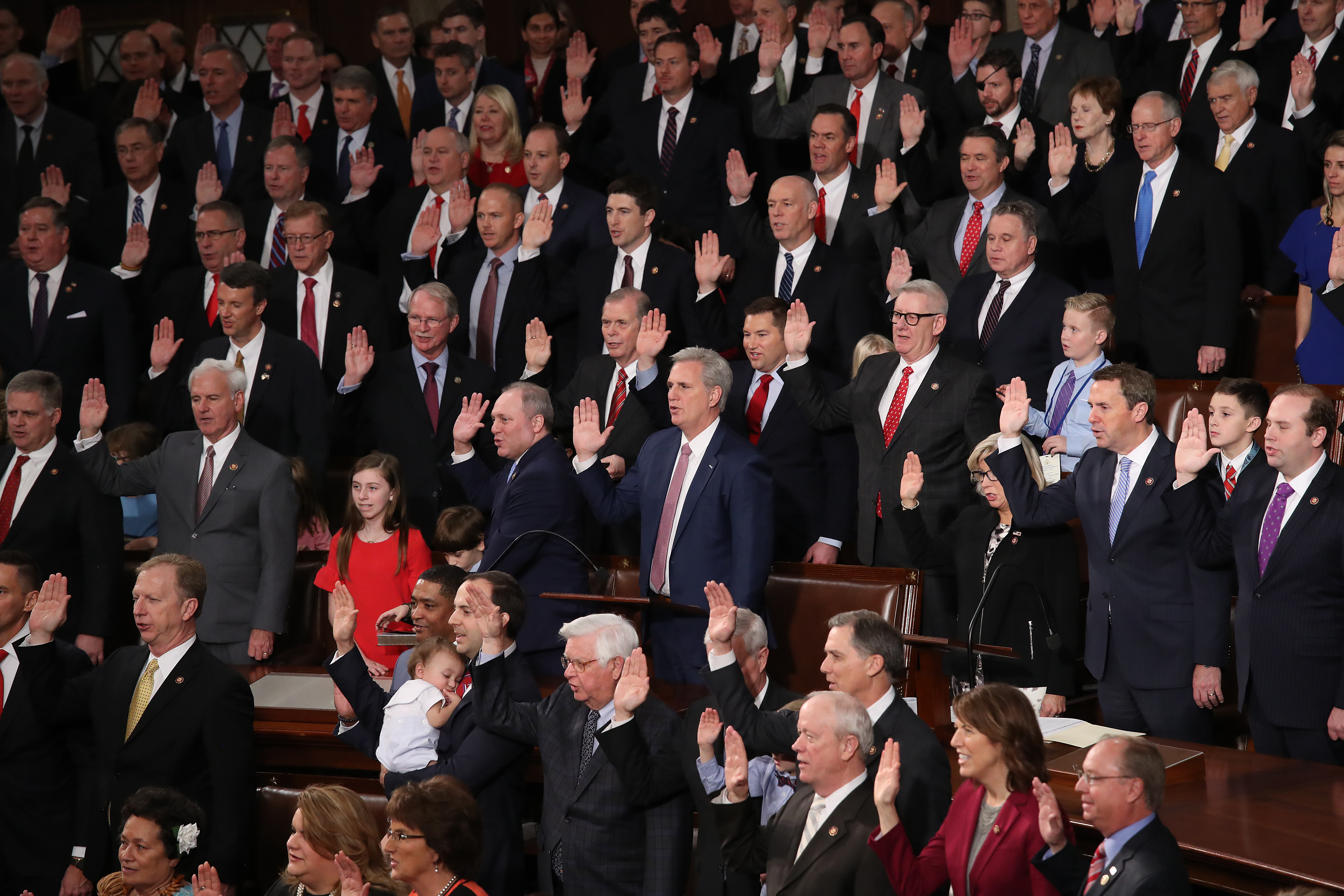 Republican members of the House of Representatives are sworn in during the first session of the 116th Congress at the U.S. Capitol.