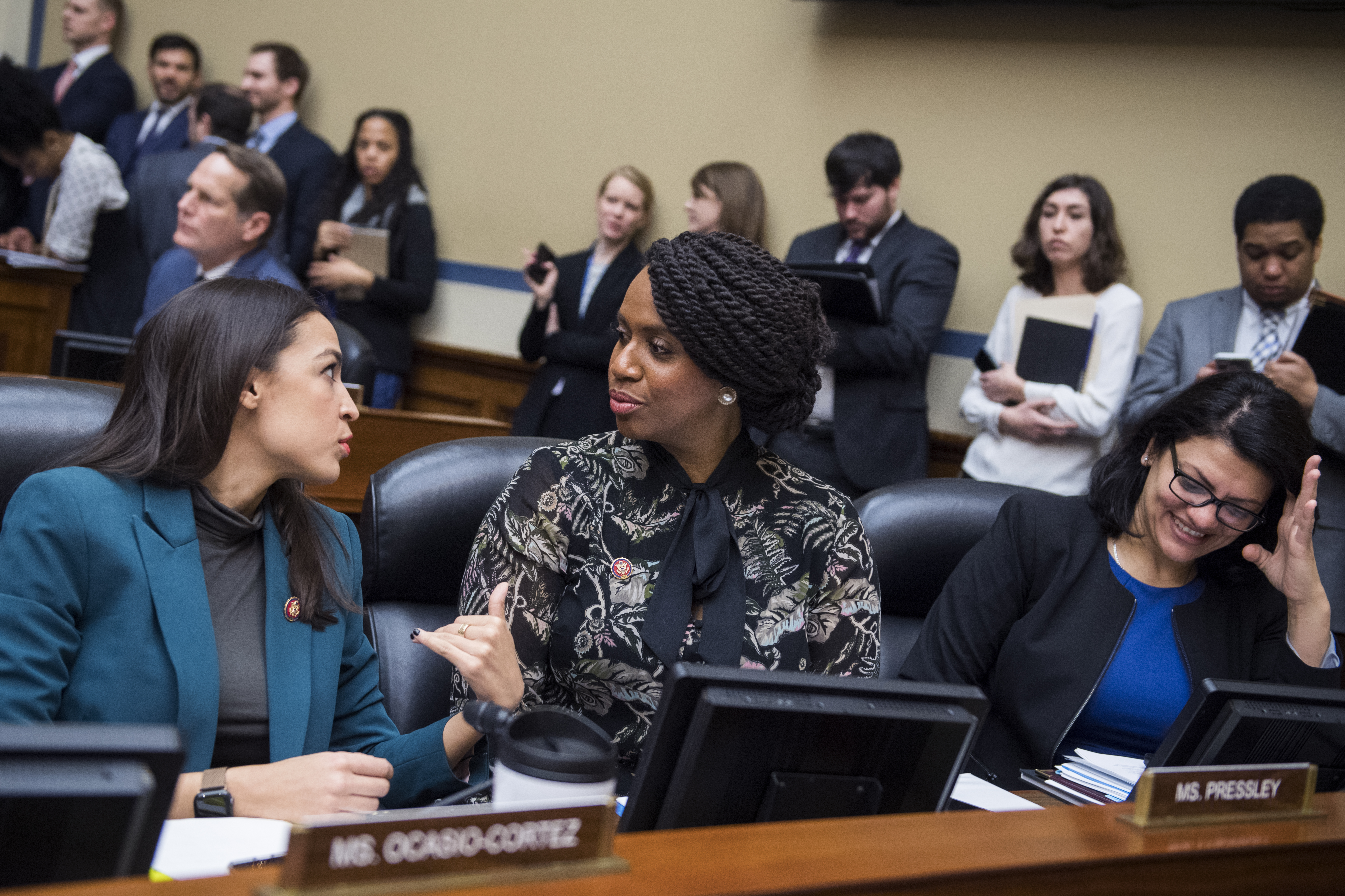 Reps. Alexandria Ocasio-Cortez, D-N.Y., Ayanna Pressley, D-Mass., and Rashida Tlaib, D-Mich., attend a meeting in Rayburn Building on Jan. 29, 2019.