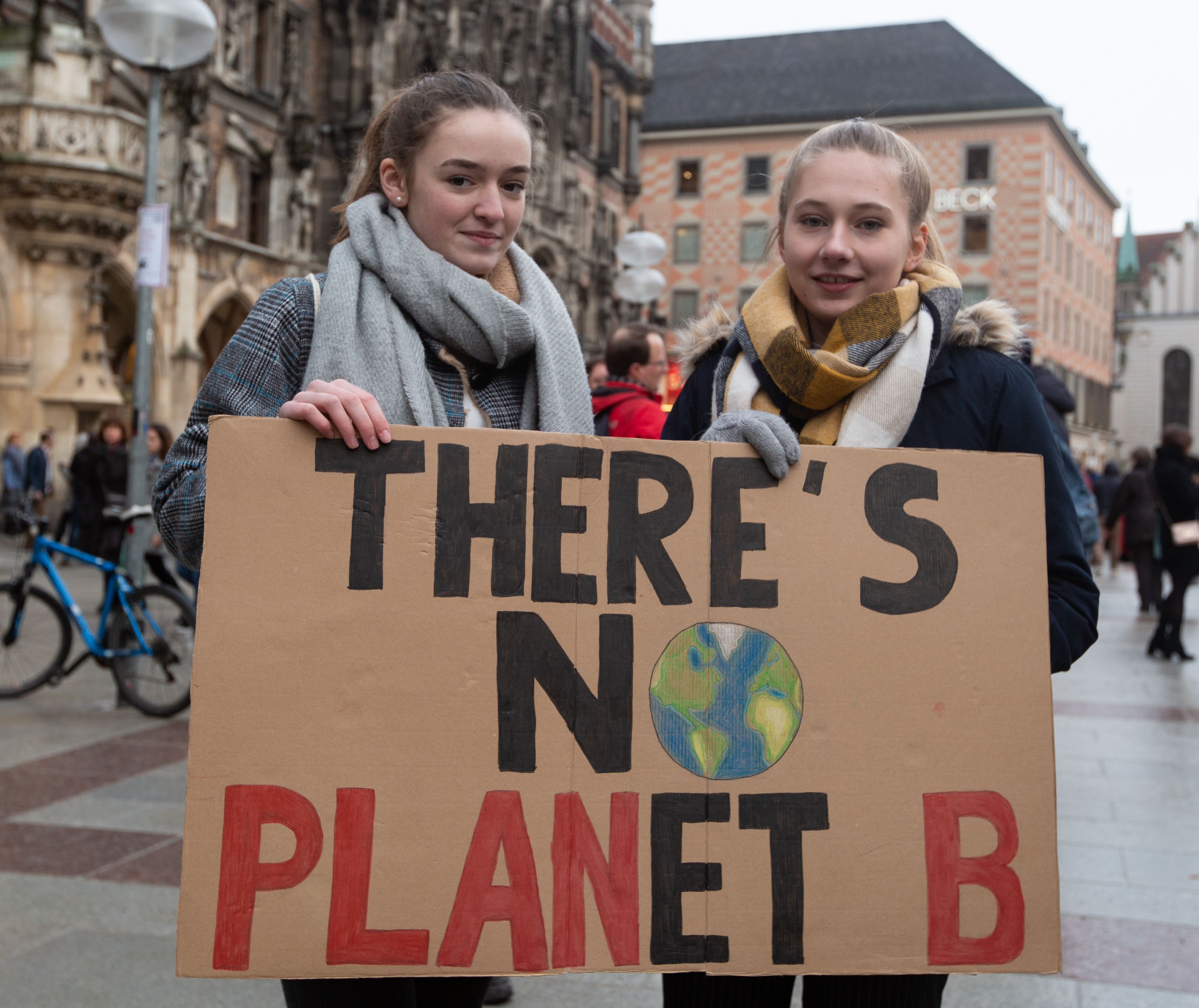 Protestors hold up a sign reading  There is no Planet B  in Munich, Germany on Feb. 2, 2019.
