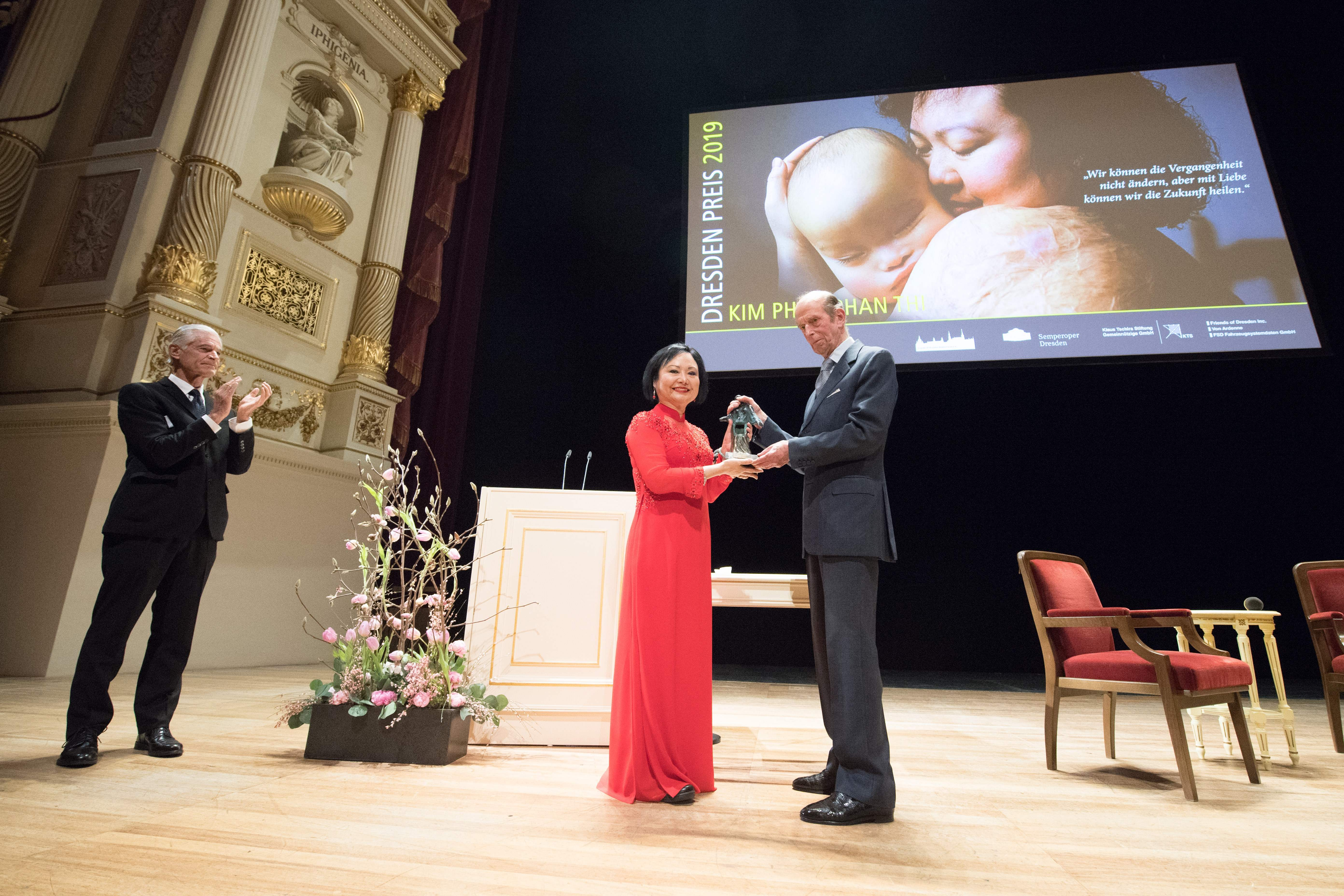 Kim Phuc Phan Thi receives the international peace prize at the Semper Opera in Dresden, Germany, on Feb. 11.
