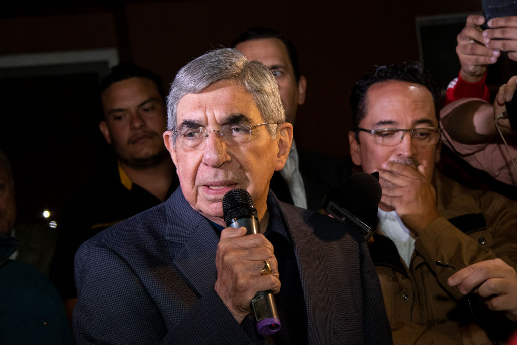 Former President of Costa Rica and Noble Prize Winner Oscar Arias speaks during a demonstration in support of Venezuela opposition leader Juan Guaidó as interim president in San José, Costa Rica on Jan. 23, 2019.