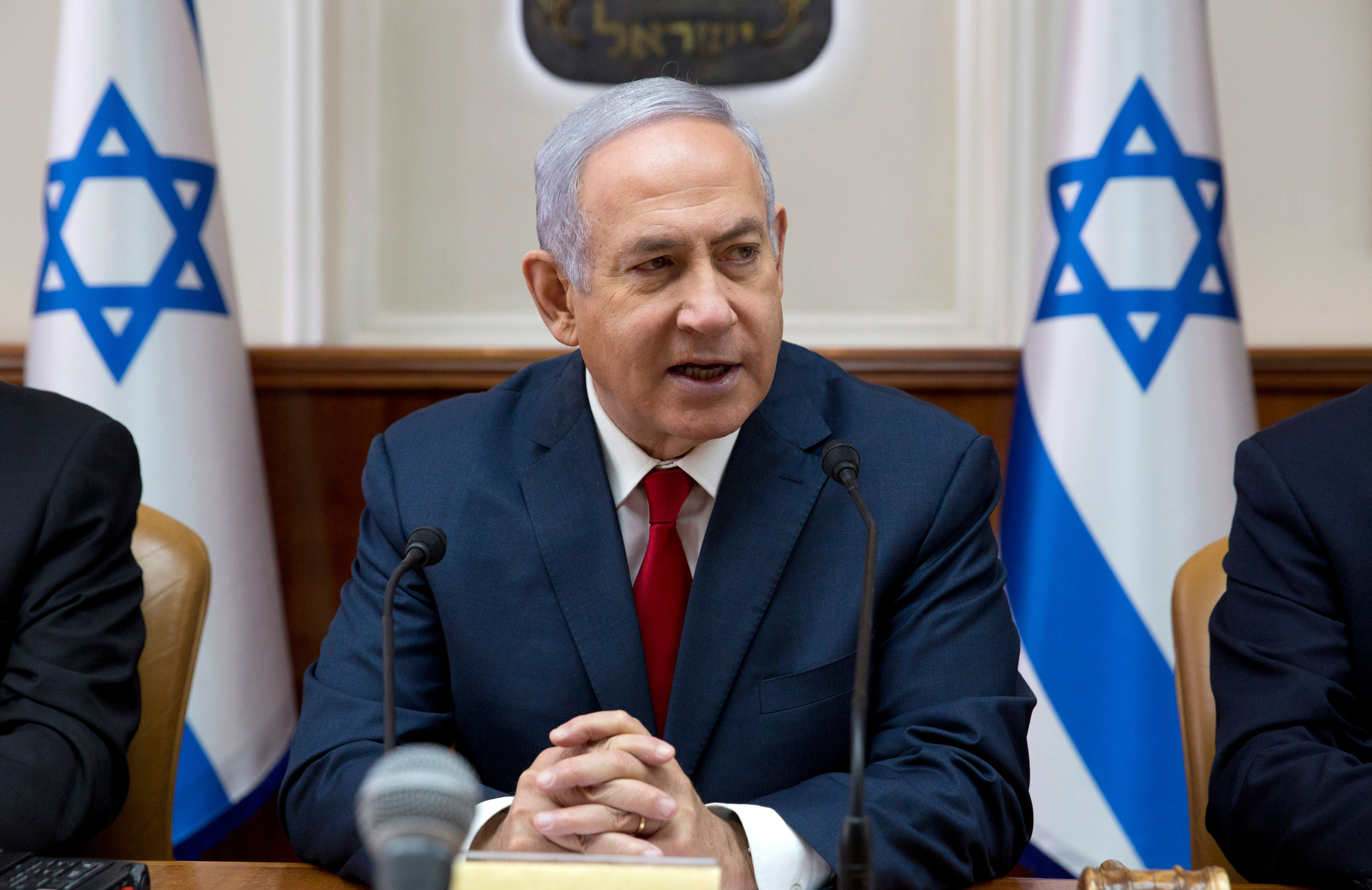 Israeli Prime Minister Benjamin Netanyahu attends the weekly cabinet meeting at the Prime Minister's office in Jerusalem on Feb. 17, 2019.