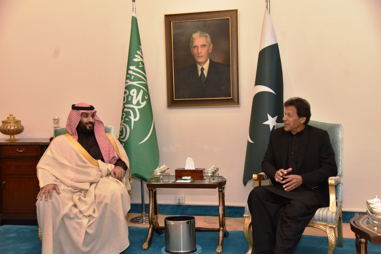 Crown prince of Saudi Arabia Mohammad bin Salman meets Prime Minister of Pakistan Imran Khan in Islamabad, Pakistan on Feb. 17.