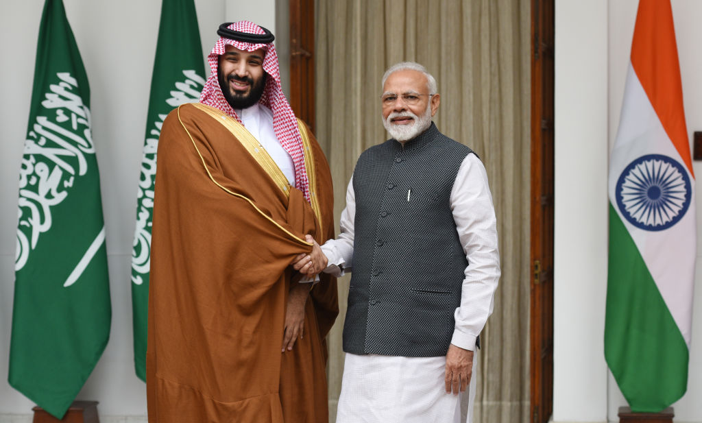 Prime Minister Narendra Modi shakes hands with Crown Prince Of Saudi Arabia Mohammed Bin Salman Bin Abdulaziz Al-Saud  prior to a meeting, at Hyderabad House, on Feb. 20, 2019
