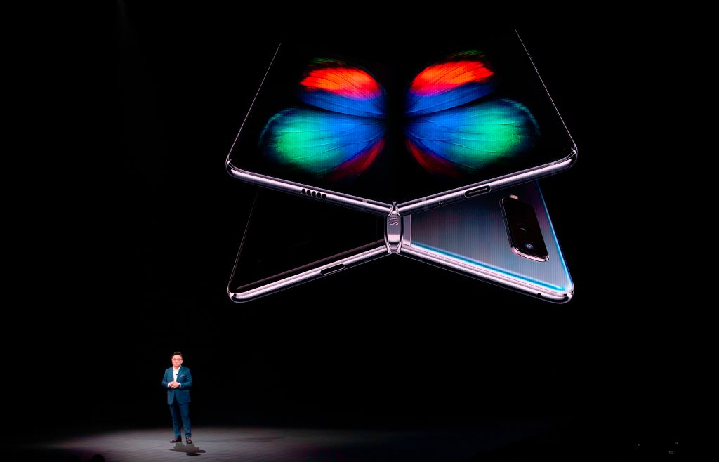 DJ Koh, President and CEO of IT & Mobile Communications Division of Samsung Electronics, speaks on stage during the Samsung Unpacked product launch event in San Francisco, on Feb. 20, 2019.