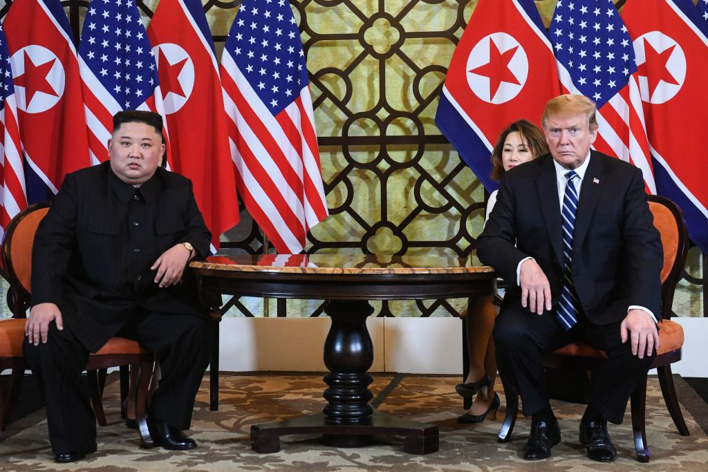 President Donald Trump and North Korea's leader Kim Jong Un hold a meeting during the second U.S.-North Korea summit at the Sofitel Legend Metropole hotel in Hanoi on Feb. 28, 2019.