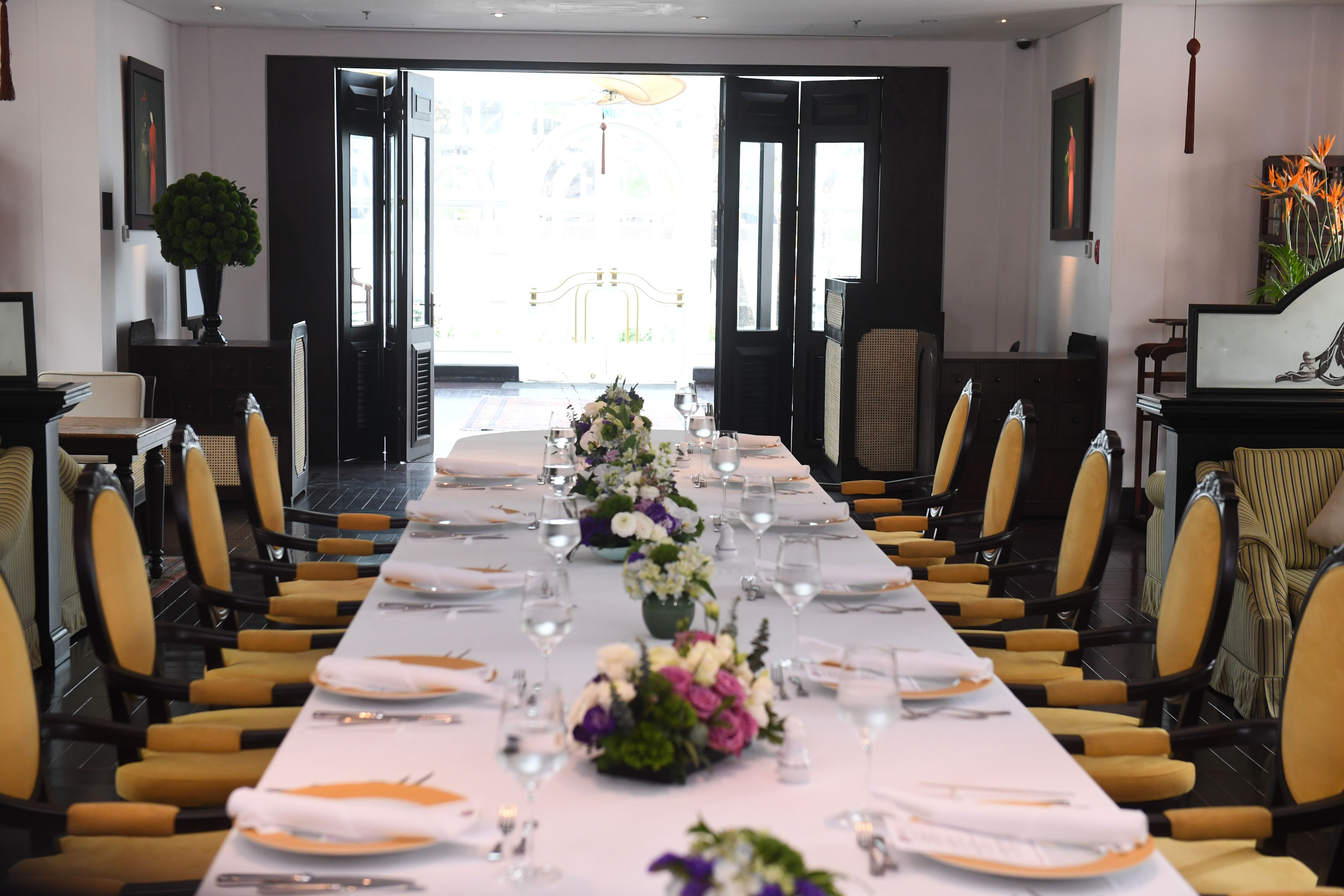 A table is all laid out for a cancelled working lunch between President Donald Trump and North Korea's leader Kim Jong Un during the summit in Hanoi on Feb. 28, 2019.