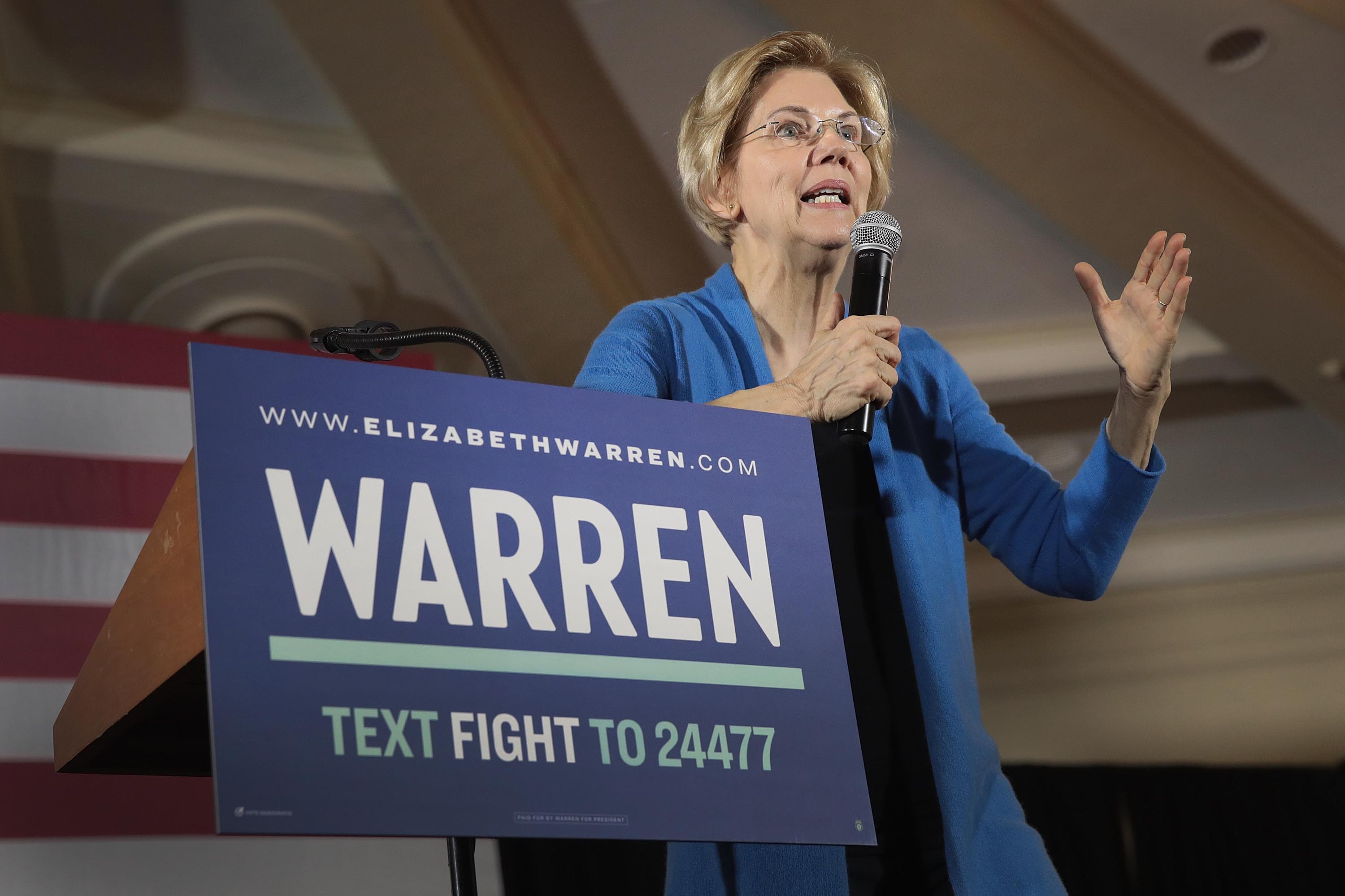 Sen. Elizabeth Warren (D-MA) speaks at a campaign rally at the University of Iowa on February 10, 2019 in Iowa City, Iowa.