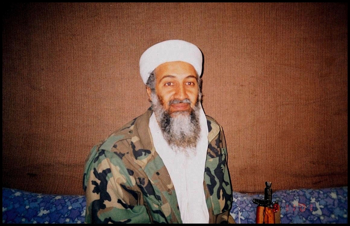 Osama Bin Laden during an interview by Pakistani journalist Hamid Mir near Kabul in 2001. On Feb. 28, 2019, the U.S. said it's issuing a $1 million reward in the hunt for his son, Hamza bin Laden.