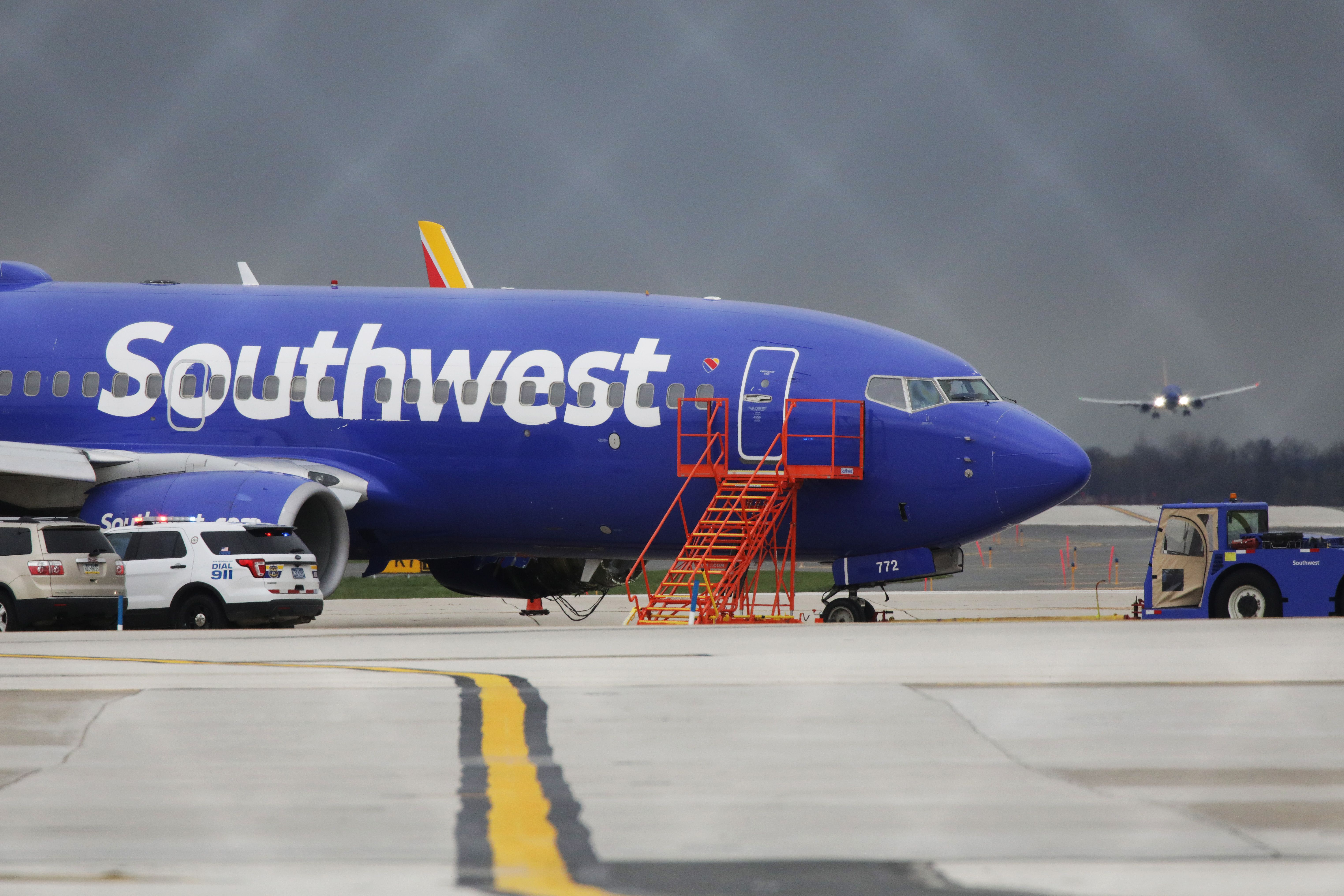 A Southwest Airlines jet sits on the runway at Philadelphia International Airport on April 17, 2018.