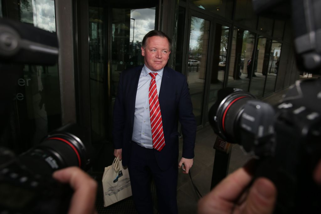 Digital, Culture, Media and Sport Committee chair Damian Collins arrives at Portcullis house in London on April 26, 2018.