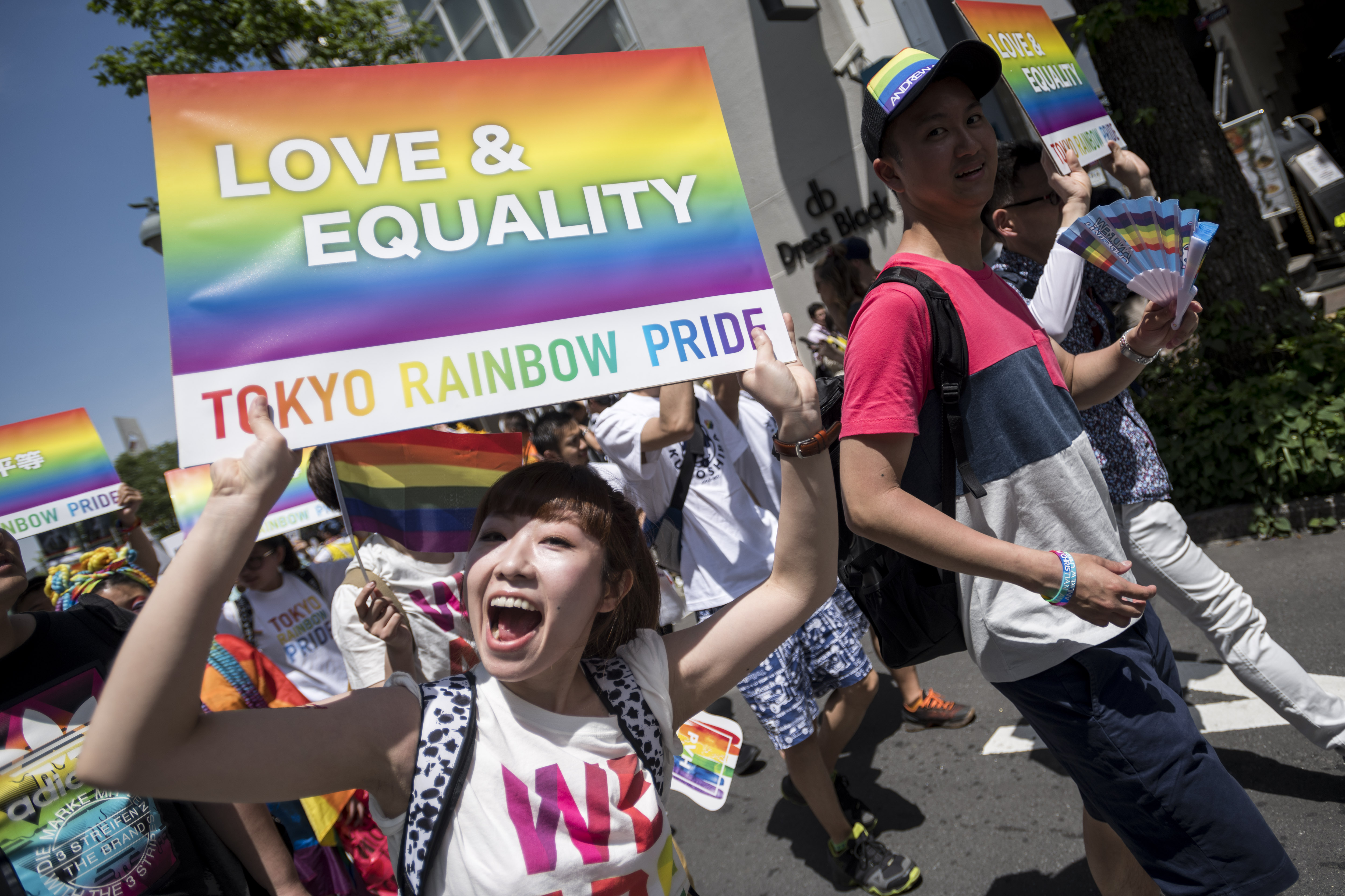 Participants march in the Tokyo Rainbow Pride Parade in Tokyo on May 6, 2018.